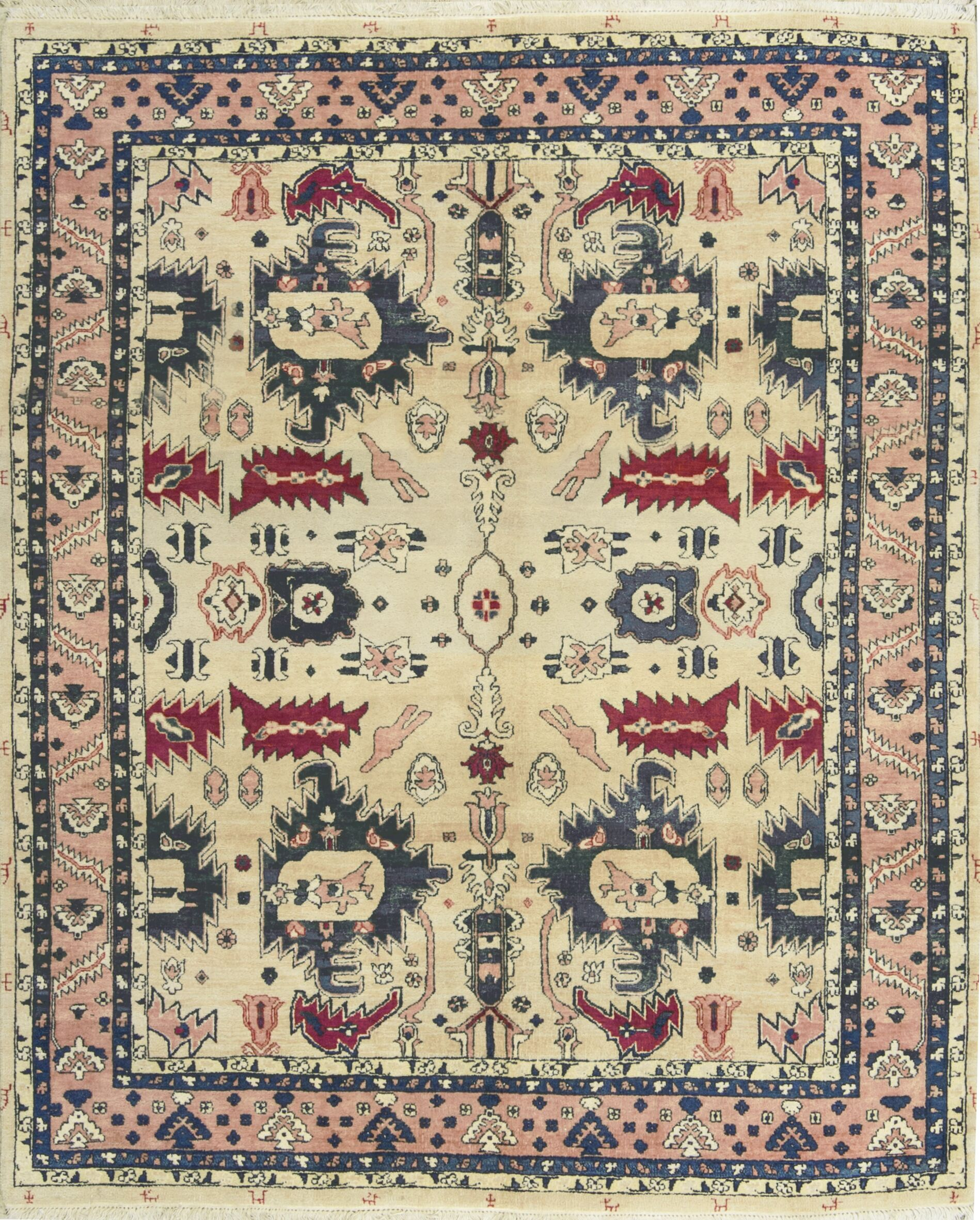 One-of-a-Kind Hand-Knotted Wool Ivory/Red Area Rug
