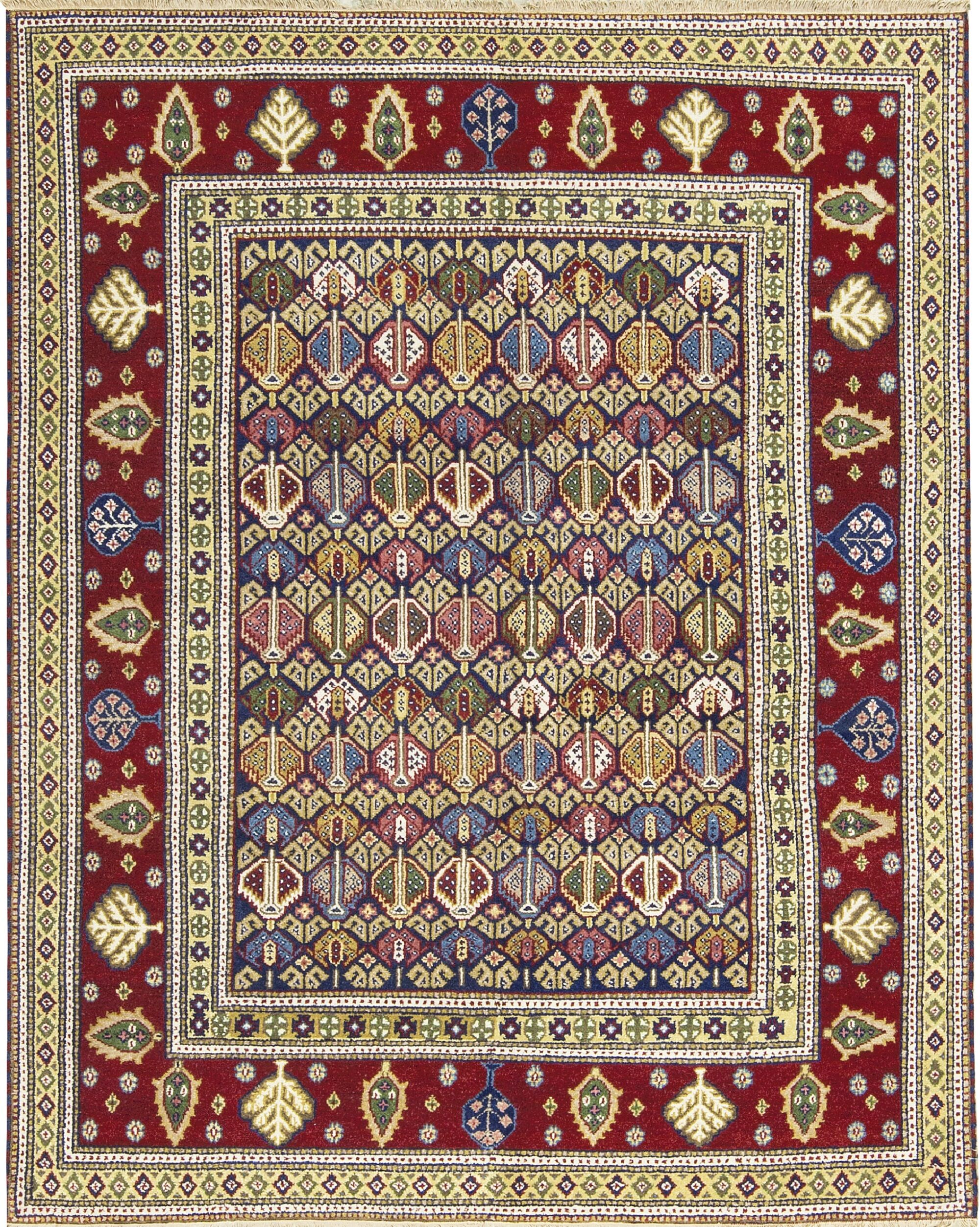 One-of-a-Kind Indo Hand-Knotted Wool Blue/Red Area Rug