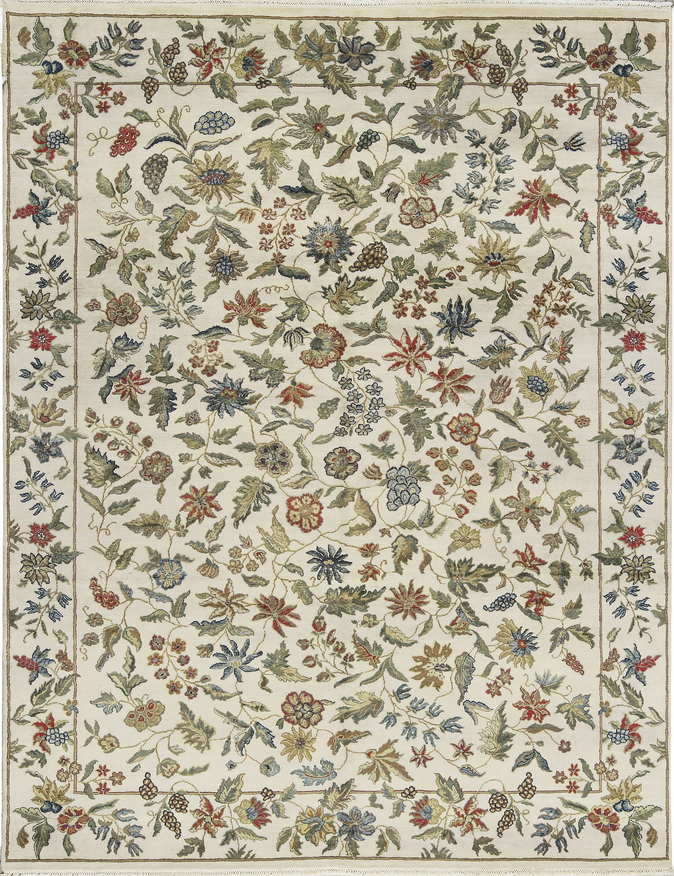 One-of-a-Kind Hand-Knotted Ivory Indoor Area Rug