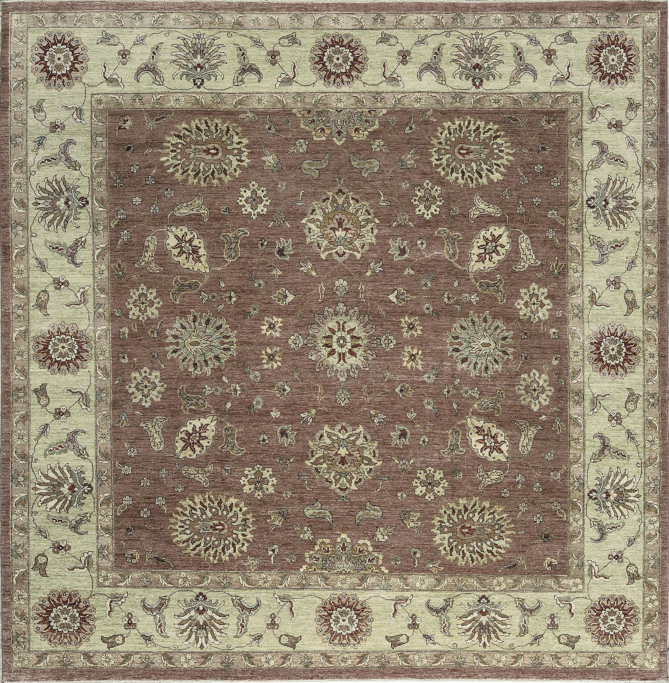 One-of-a-Kind Ziegler Hand-Knotted Wool Rust/Green Indoor Area Rug