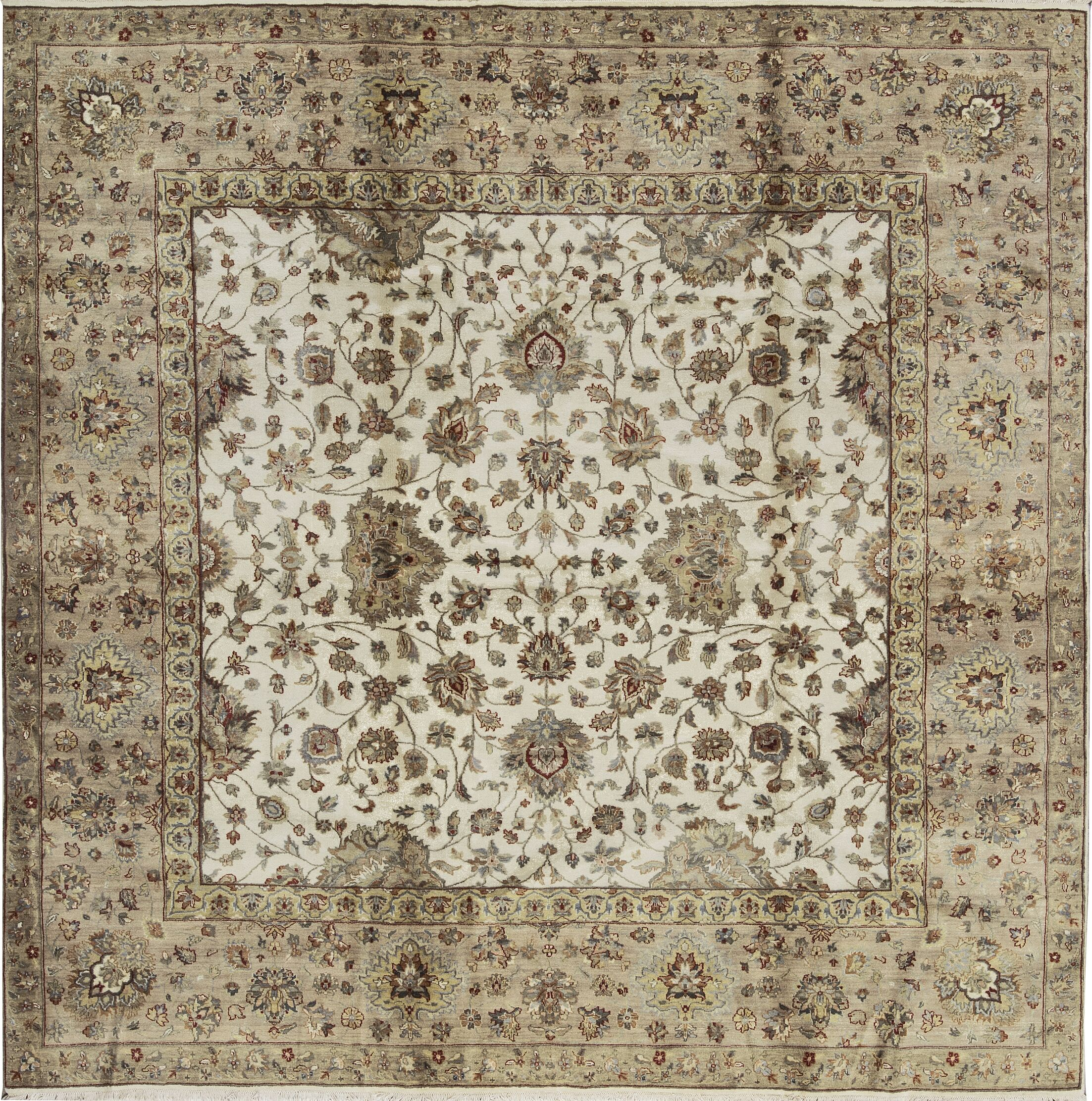 One-of-a-Kind Handwoven Wool Cream/Ivory Indoor Area Rug