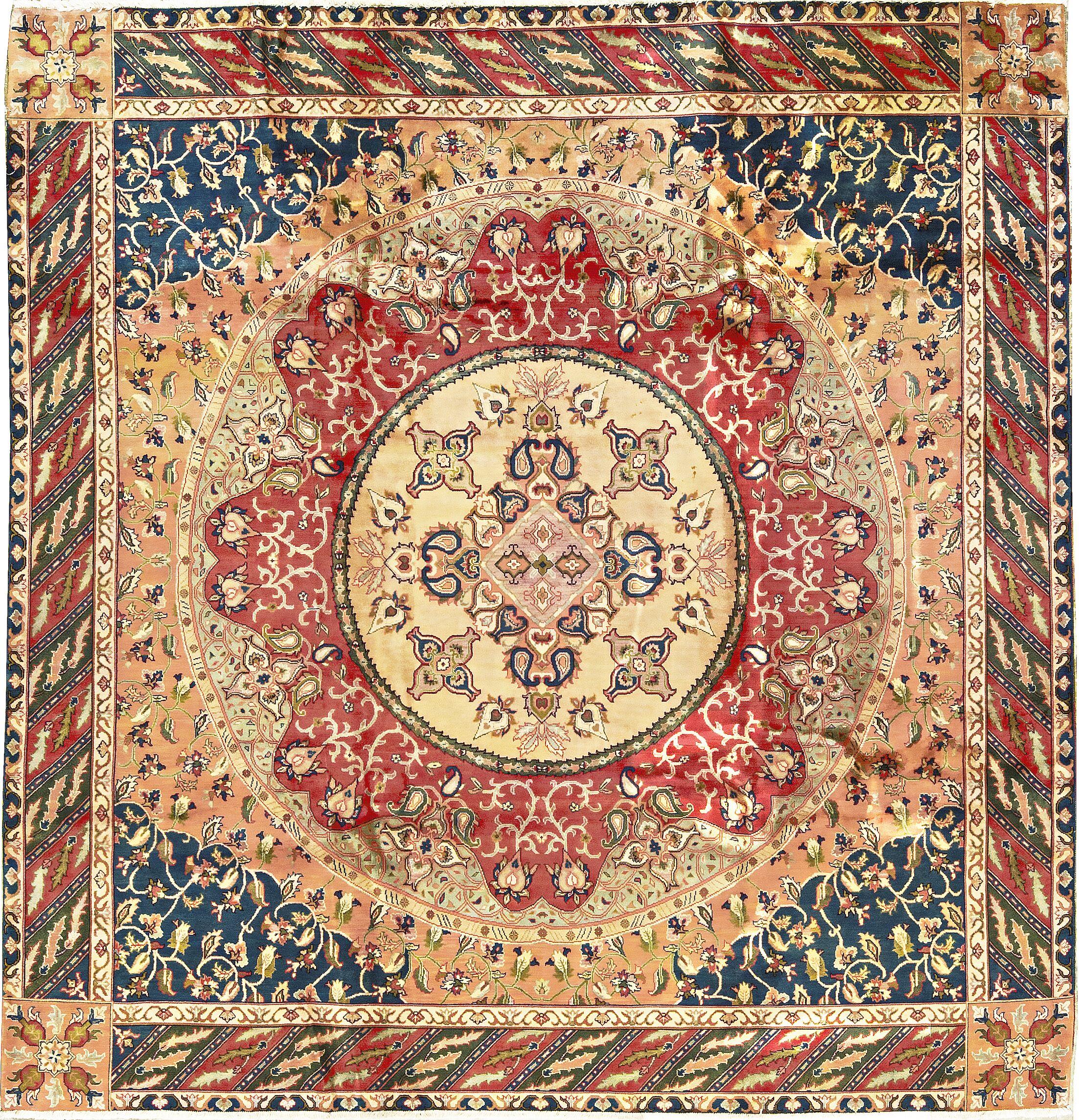 One-of-a-Kind Maharaja Handwoven Wool Beige/Red Indoor Area Rug