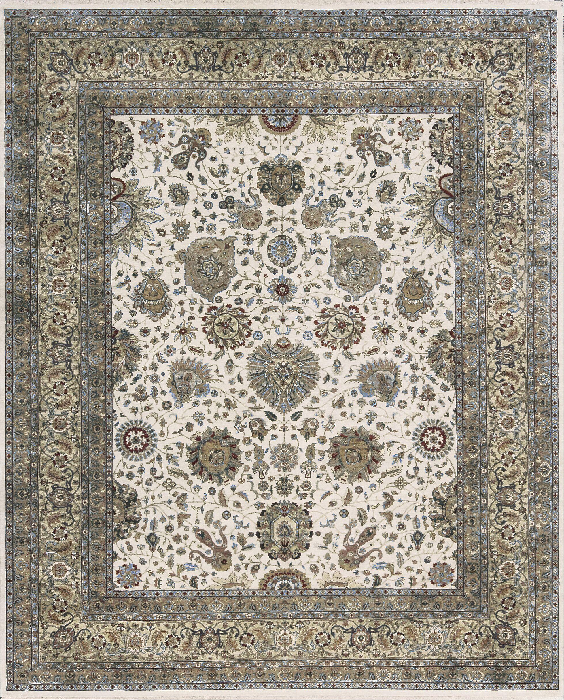 One-of-a-Kind Kashan Handwoven Wool Ivory/Beige Indoor Area Rug