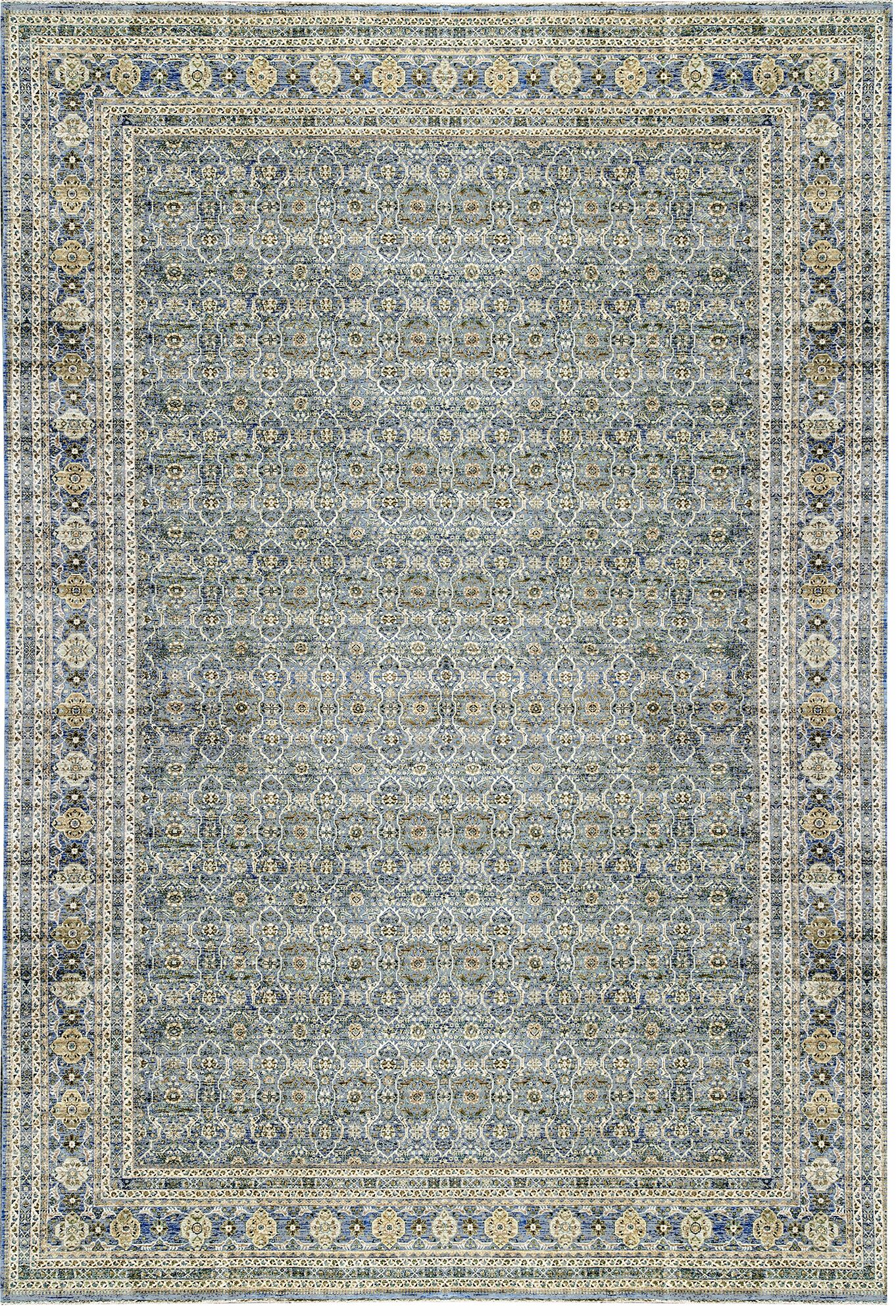 One-of-a-Kind Nooristan Hand-Knotted Wool Beige/Blue Indoor Area Rug
