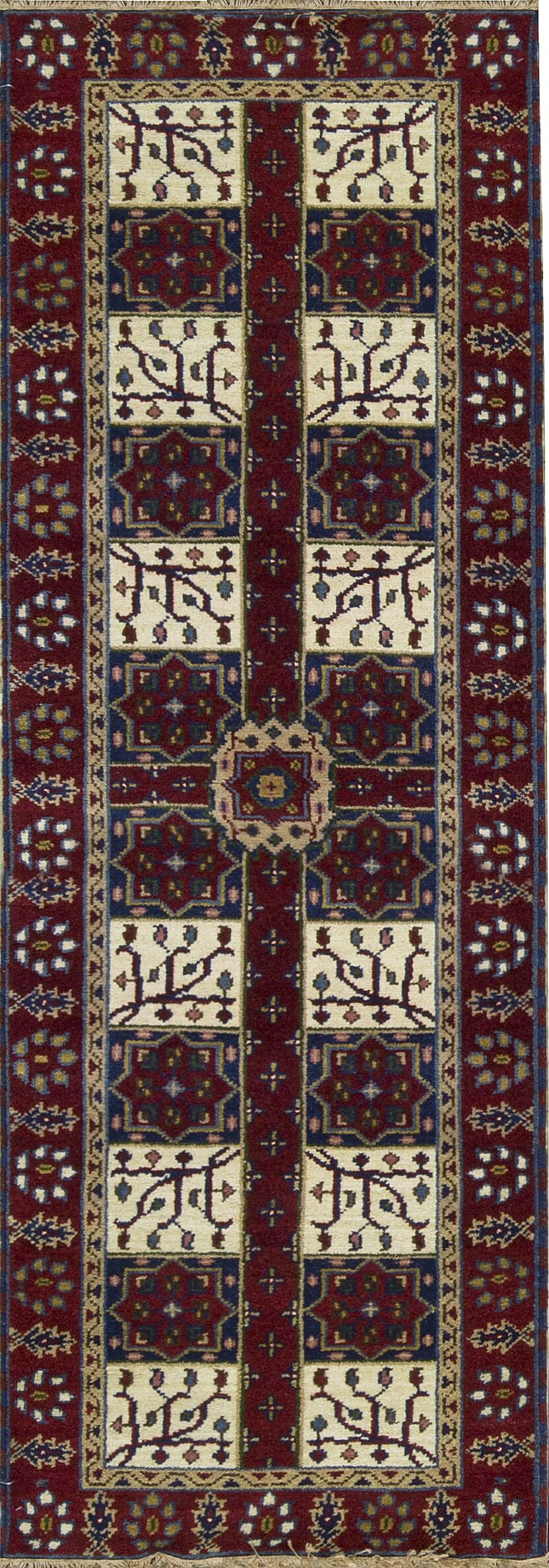 One-of-a-Kind Kazak Hand-Knotted Wool Ivory/Red Indoor Area Rug