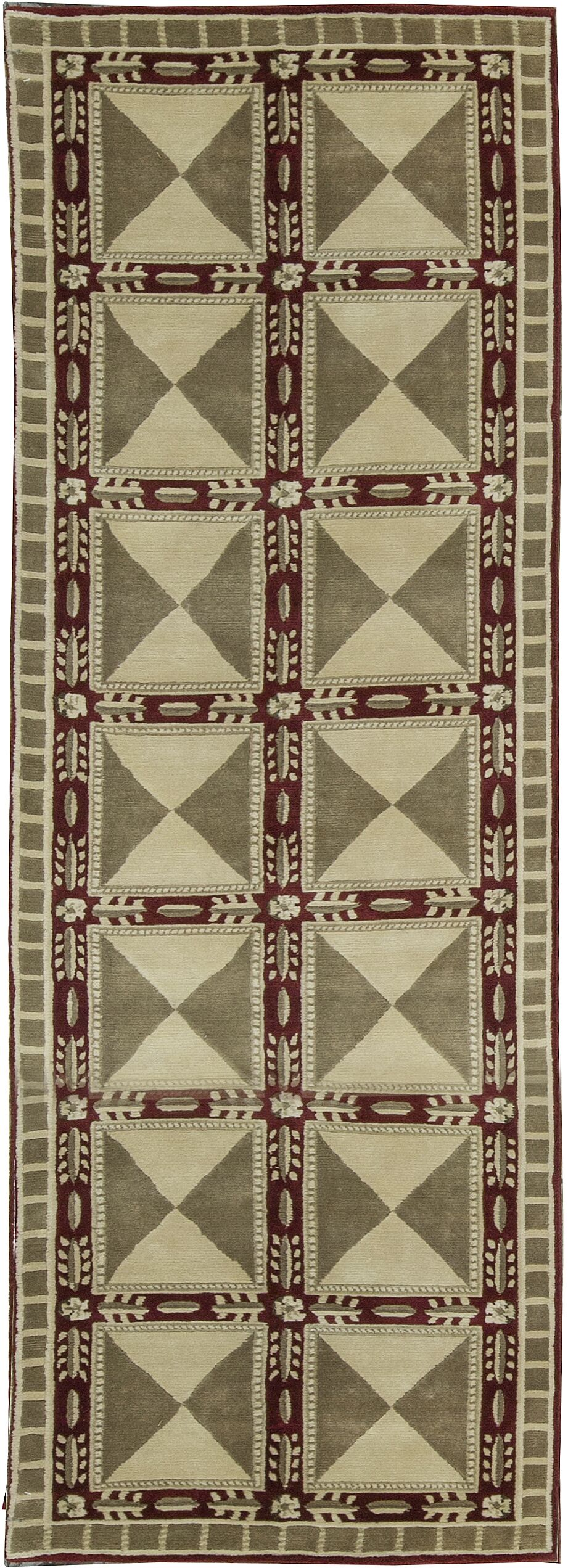 One-of-a-Kind Soofer Hand-Knotted Wool Olive/Red Indoor Area Rug
