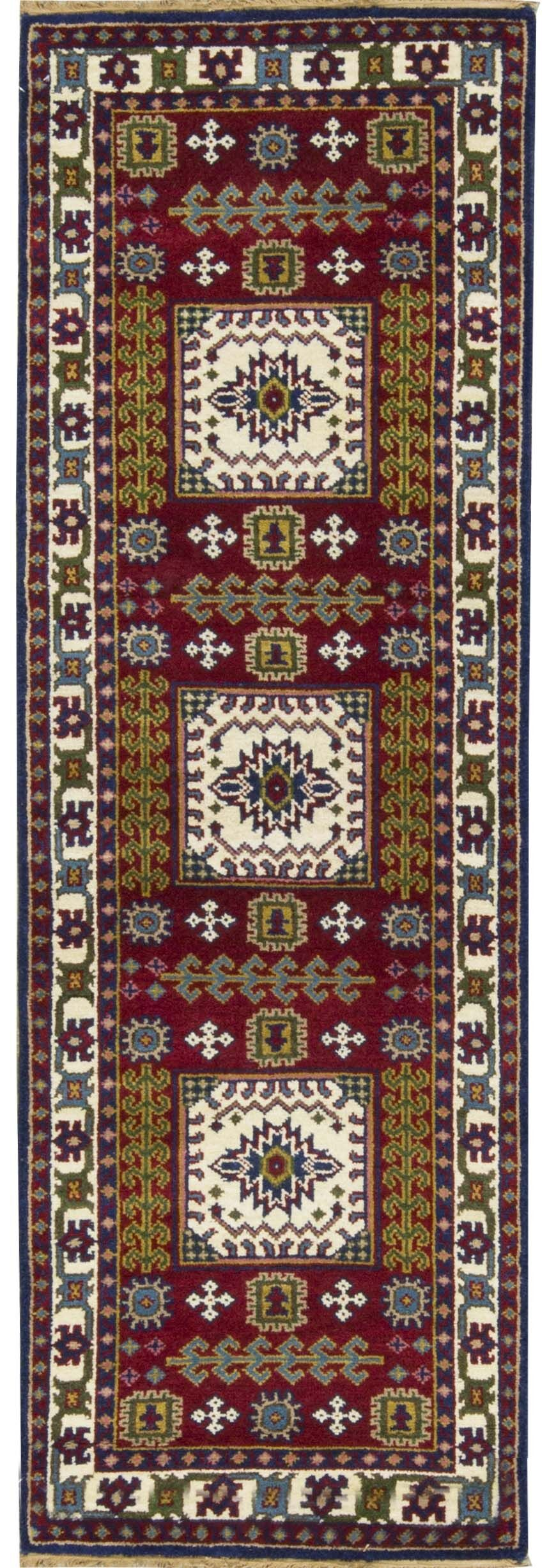 One-of-a-Kind Kazak Hand-Knotted Wool Red/Ivory Indoor Area Rug