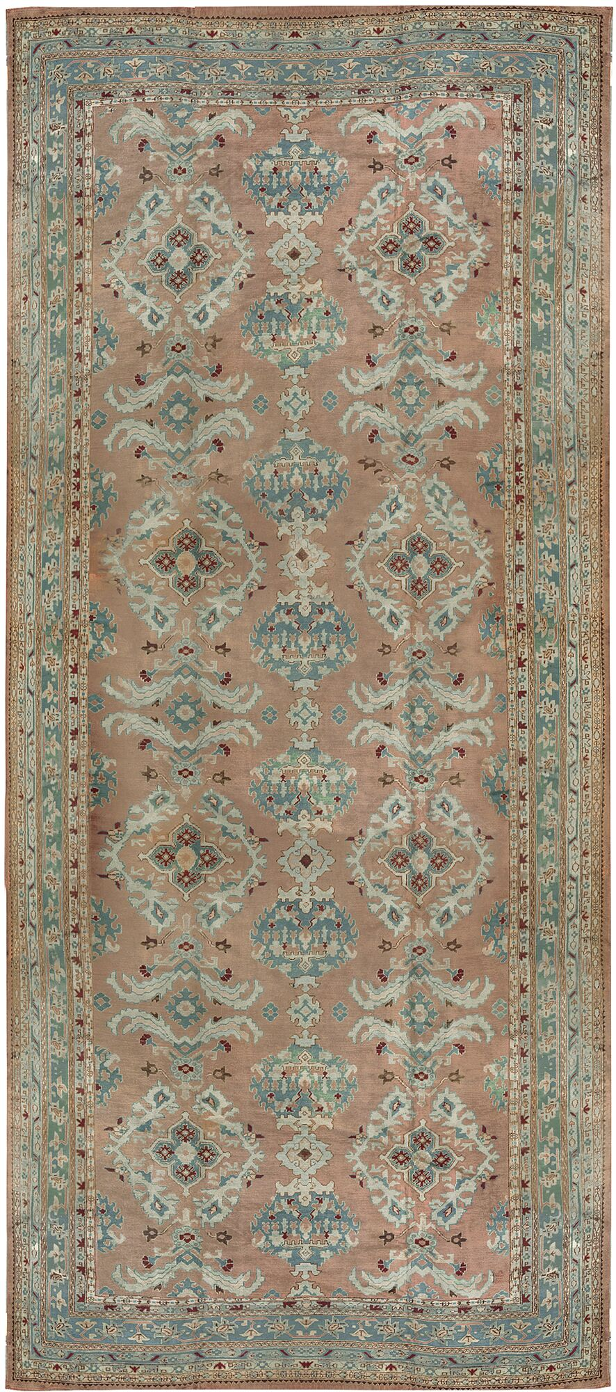 One-of-a-Kind Oushak Hand-Knotted Wool Rose/Aqua Indoor Area Rug