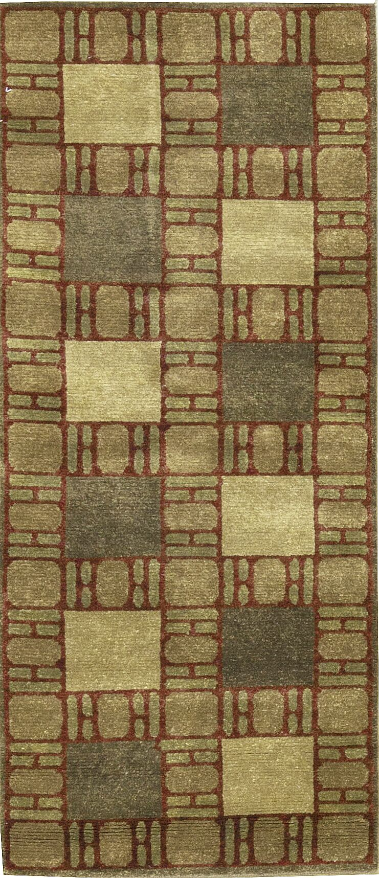 One-of-a-Kind Hand-Knotted Wool Green Indoor Area Rug