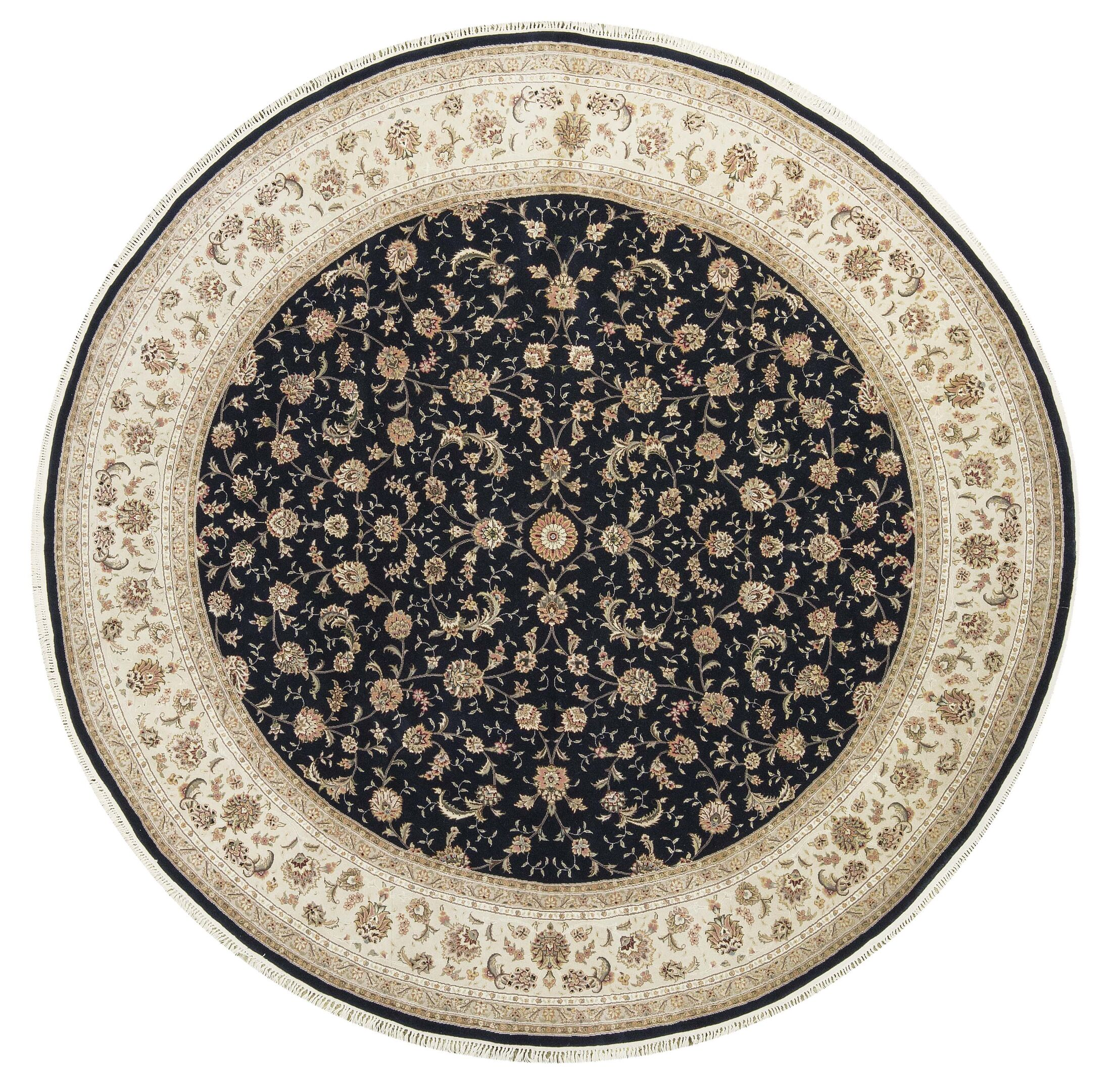 One-of-a-Kind Elegance Select Handwoven 10' x 10' Wool/Silk Brown/Black Area Rug