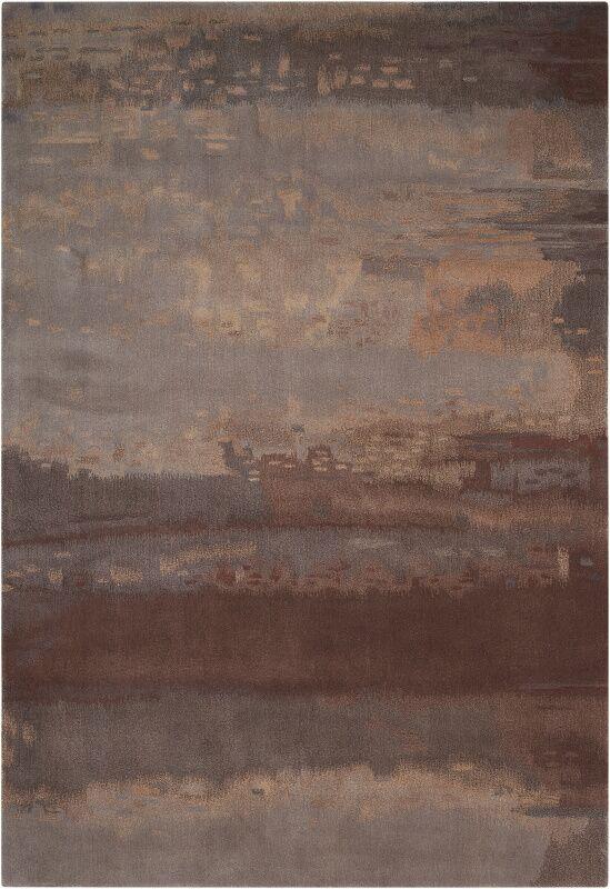 Luster Wash Hand Woven Wool Slate/Brown Area Rug Rug Size: Rectangle 4' x 6'
