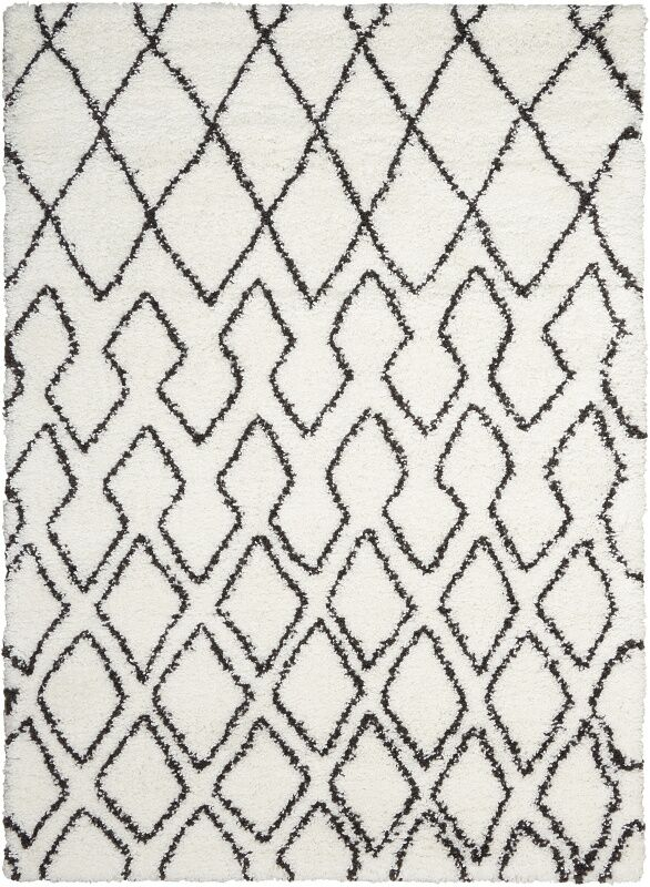 Riad Ivory/Black Area Rug Rug Size: Rectangle 7'10