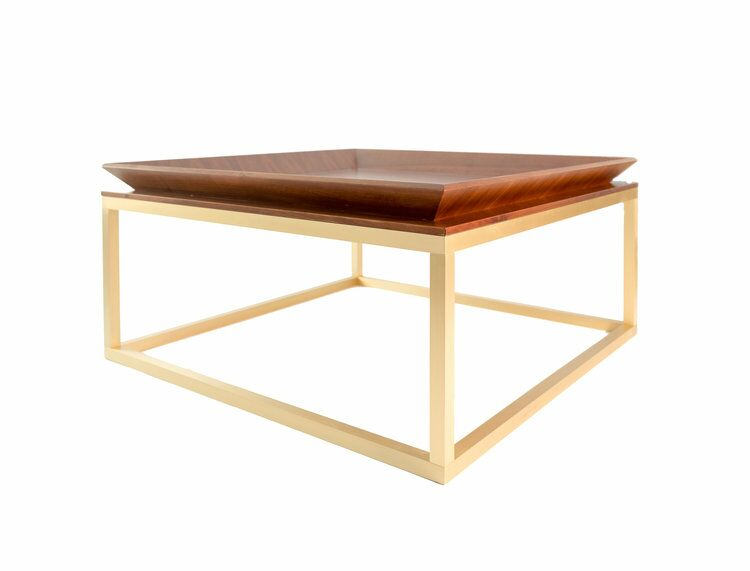 Le Tray Straight Leg Coffee Table Table Top Color: Walnut, Table Base Color: Polished Brass
