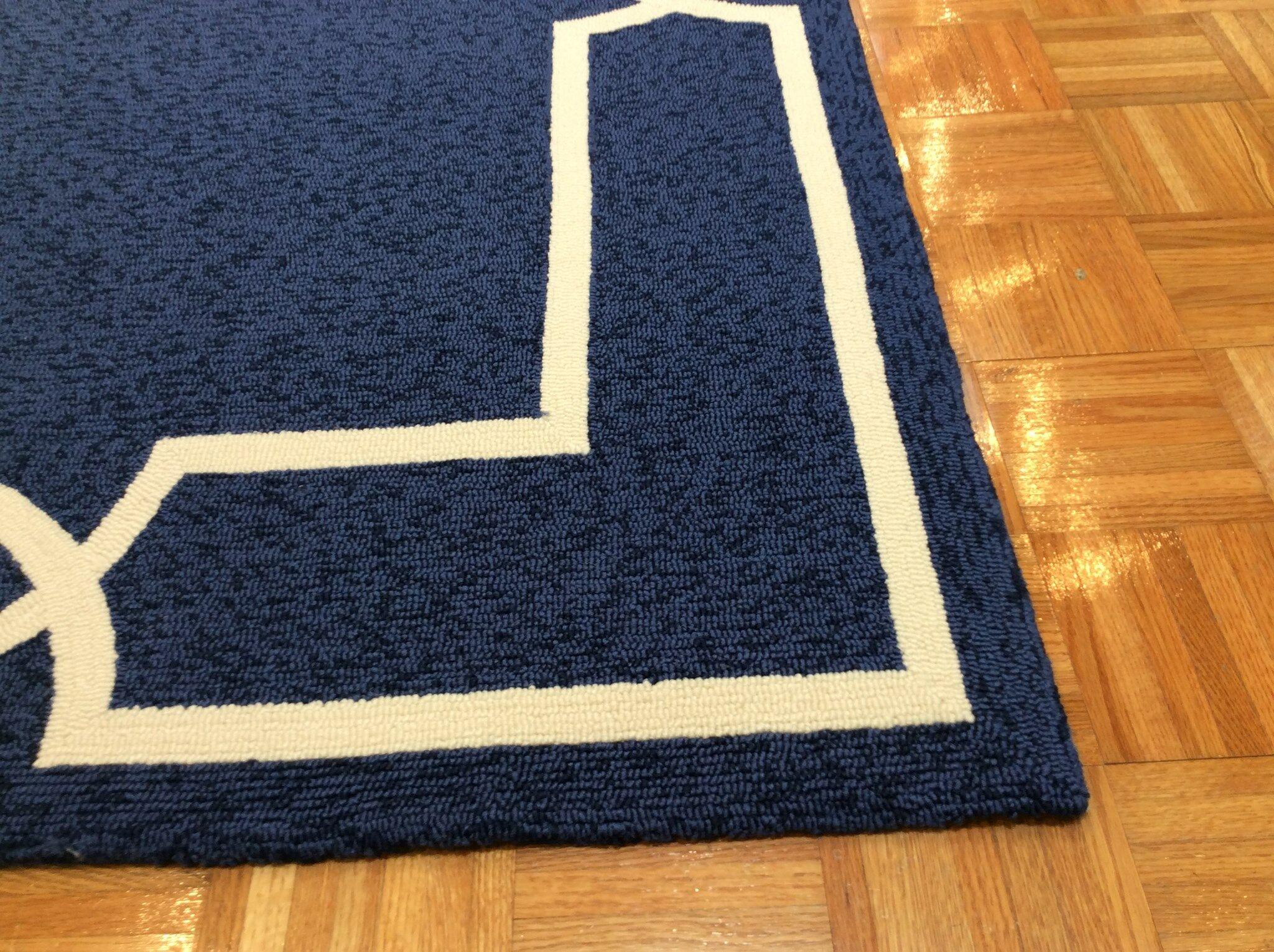Hamptons Madison Hand-Hooked Ocean Indoor/Outdoor Area Rug Rug Size: Rectangle 8' x 11'