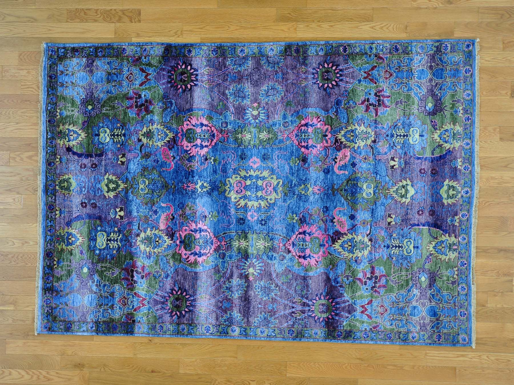 One-of-a-Kind Dyess Modern Hand-Knotted Silk Blue Area Rug
