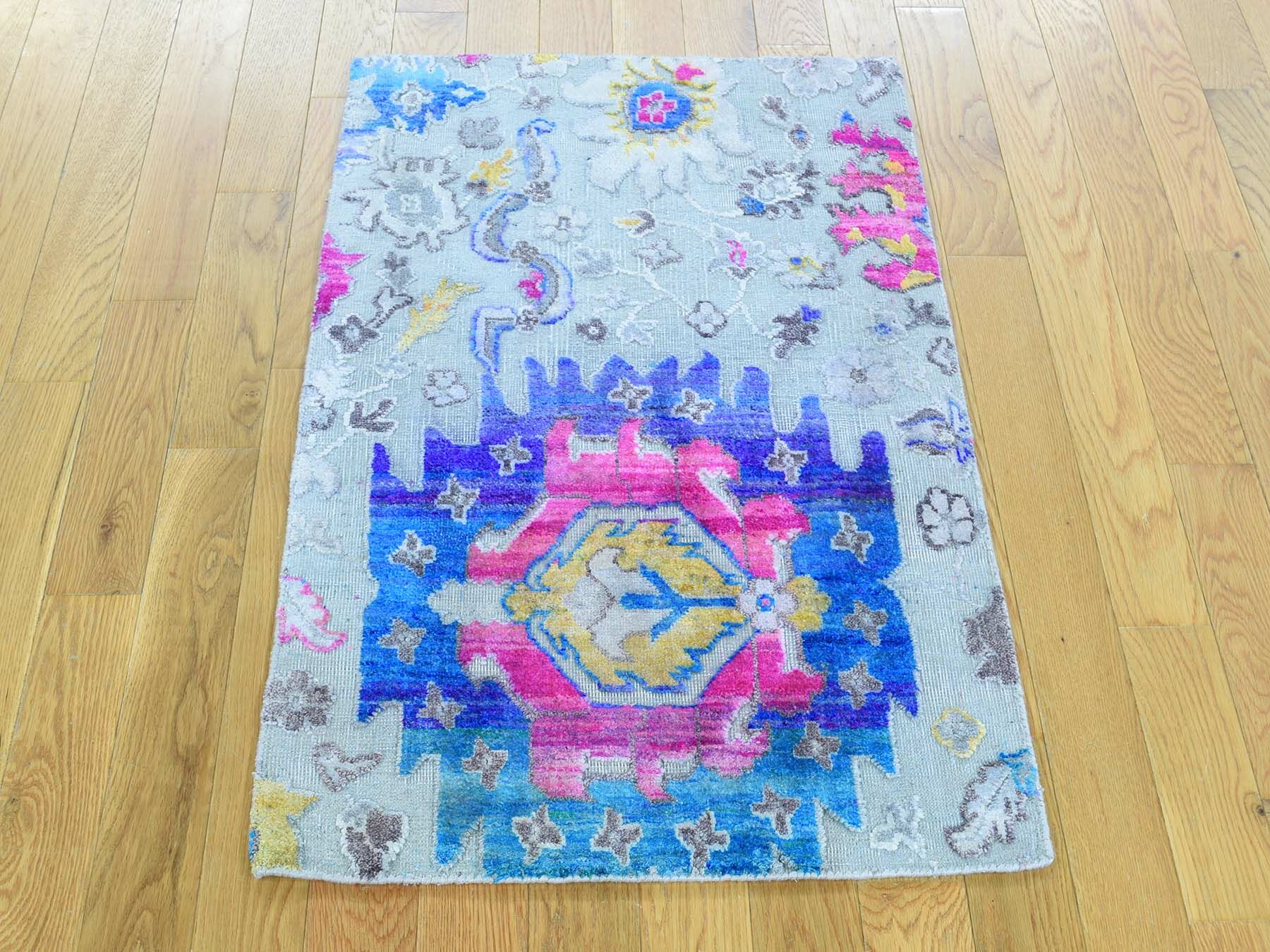 One-of-a-Kind Dyess Oxidized Floral and Plants Hand-Knotted Blue/Pink Area Rug