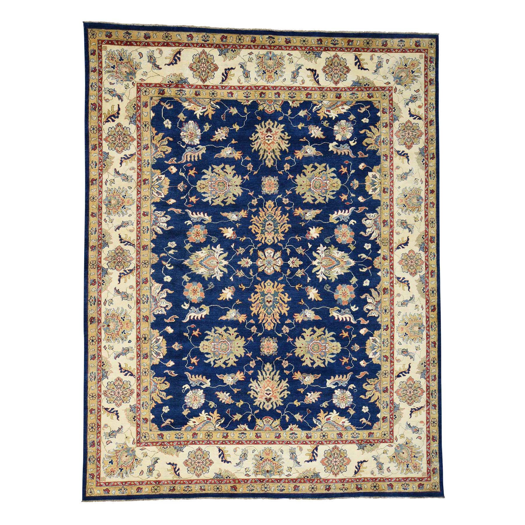 One-of-a-Kind Tillman Special Mahal Hand-Knotted Ivory/Navy Blue Area Rug