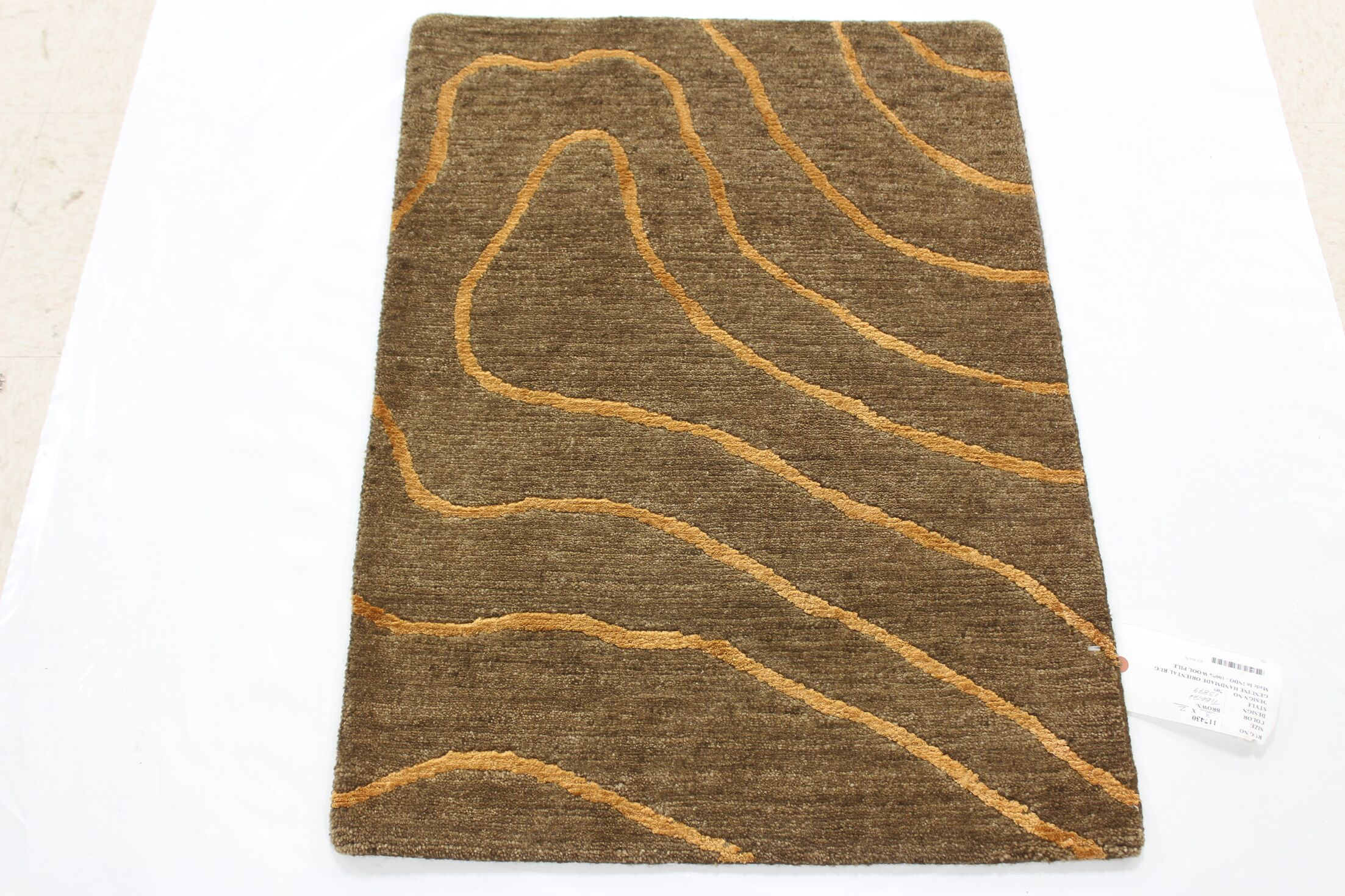 One-of-a-Kind Coleford Hand-Knotted Wool Brown Area Rug