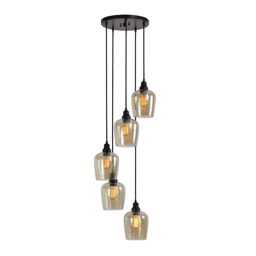 Eleanor Cluster 5 -Light LED Glass Pendant