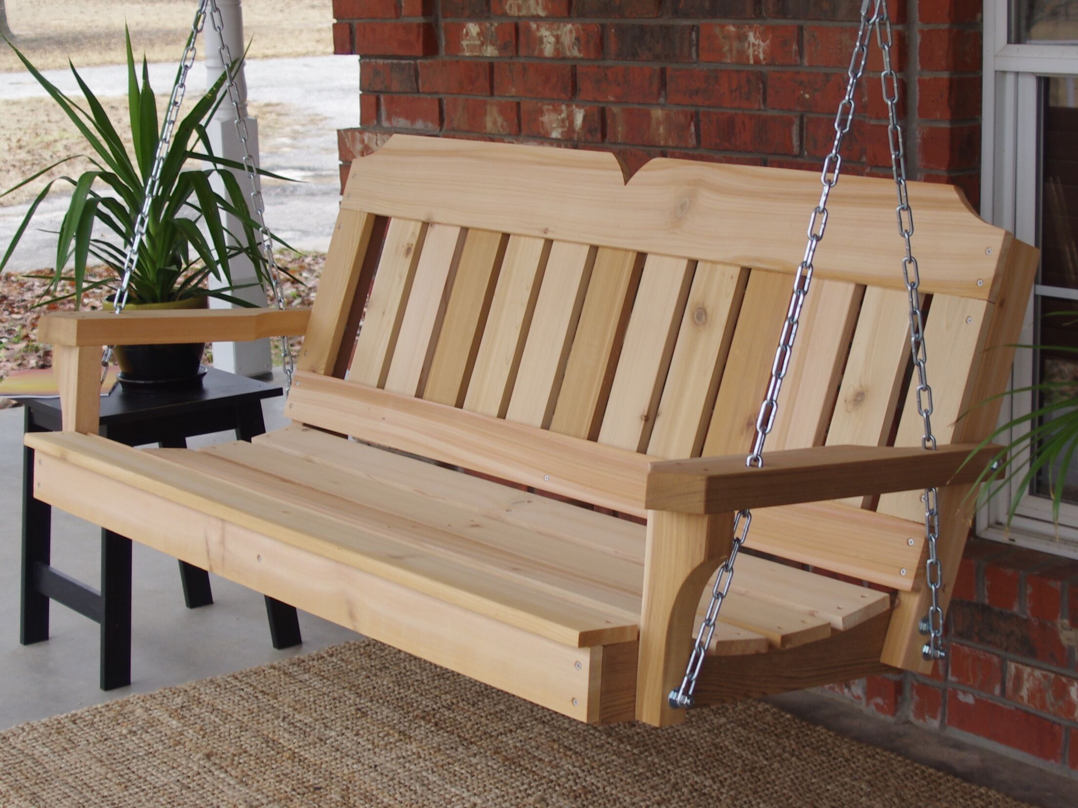 Galusha Cedar Porch Swing Finish: Natural/Stainless Steel, Size: 24