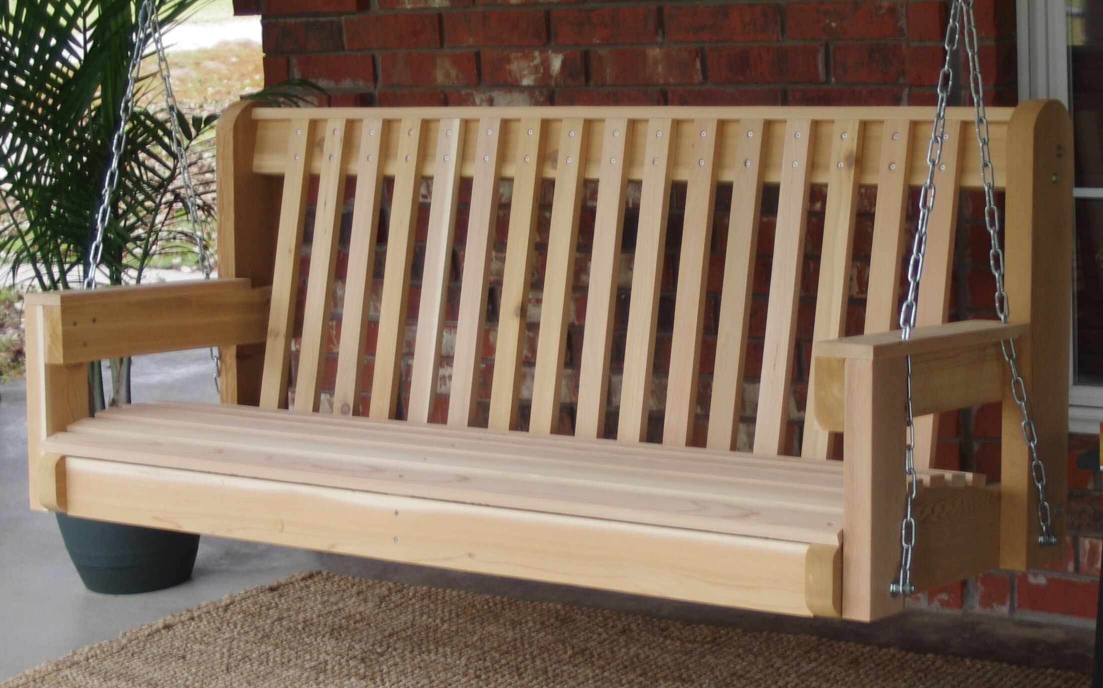 Galvan High Back Cedar Porch Swing Finish: Stained/Regular, Size: 27