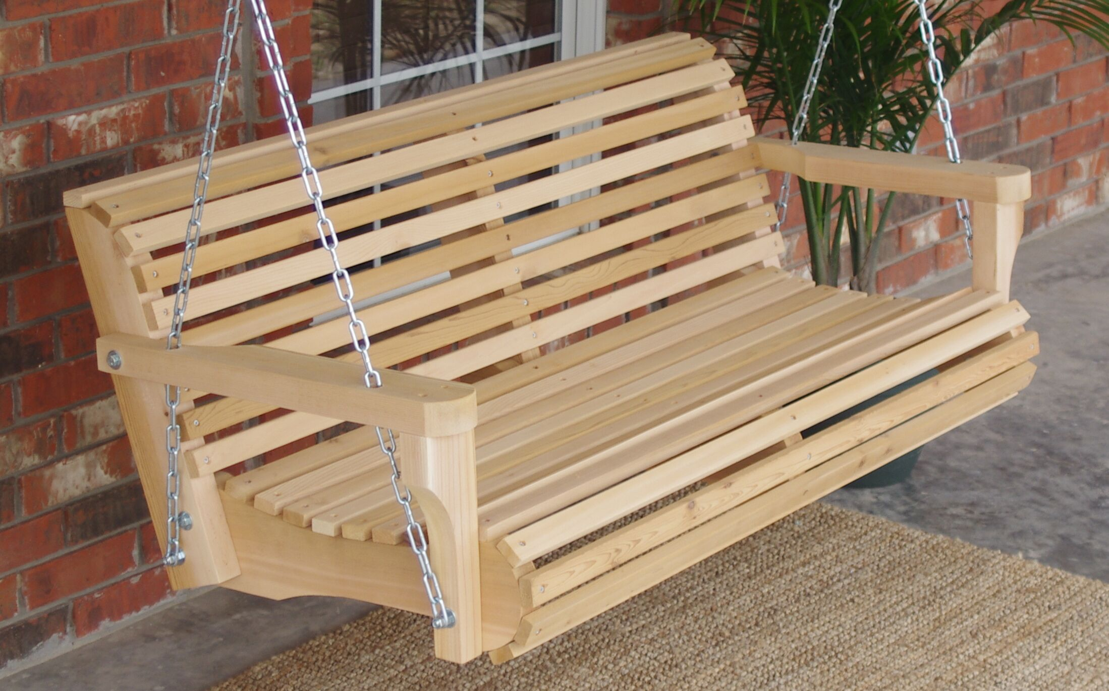 Himes Contoured Classic Cedar Porch Swing Finish: Natural/Regular, Size: 22