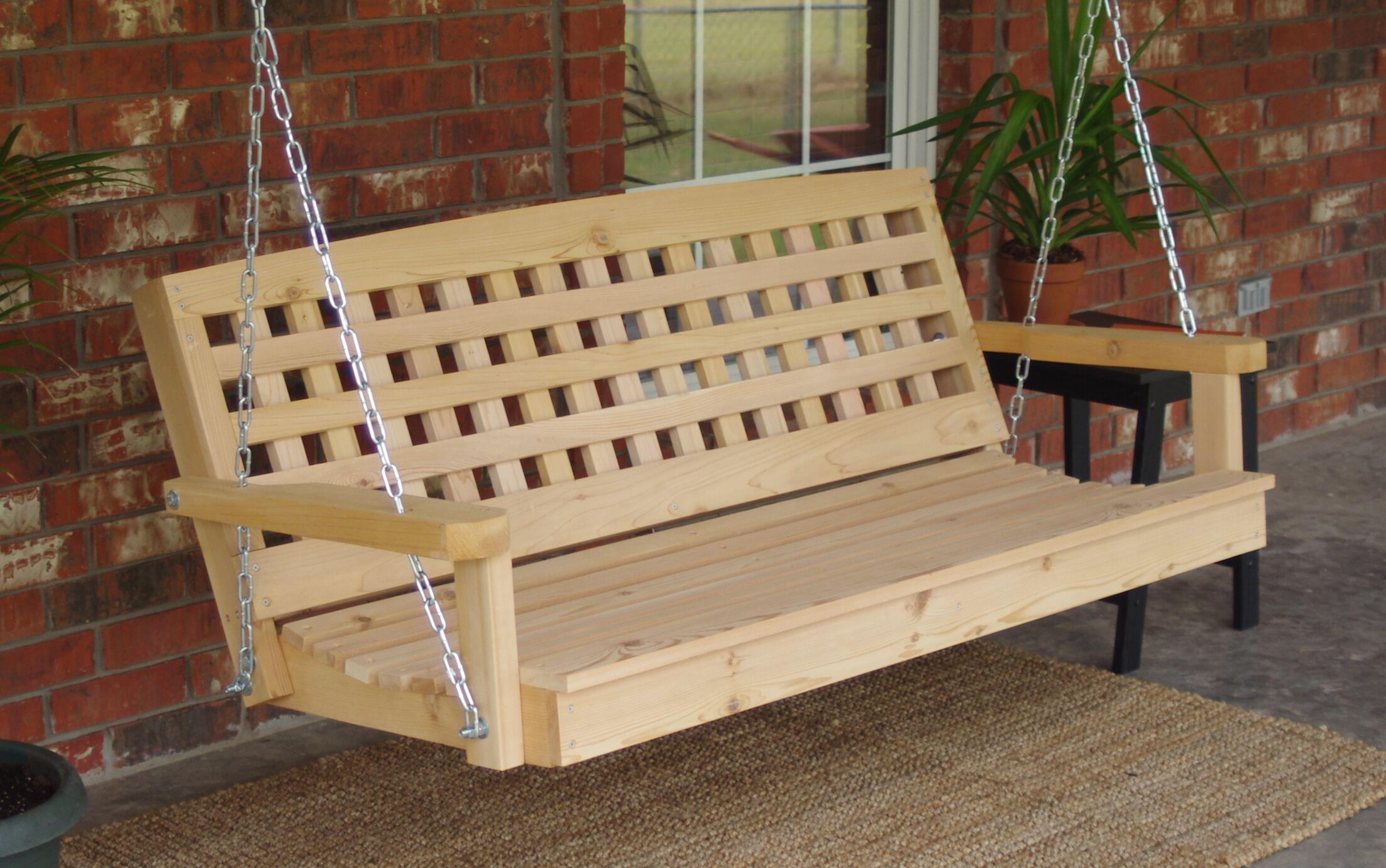 Hinderliter Lattice Back Cedar Porch Swing Finish: Natural/Stainless Steel , Size: 24