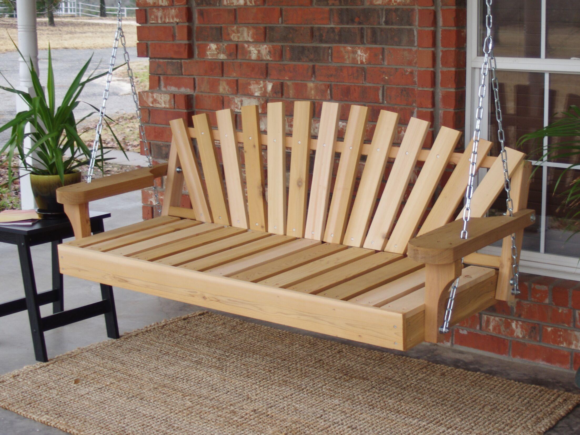 Hindman Sunrise Cedar Porch Swing Finish: Natural/Stainless Steel, Size: 24