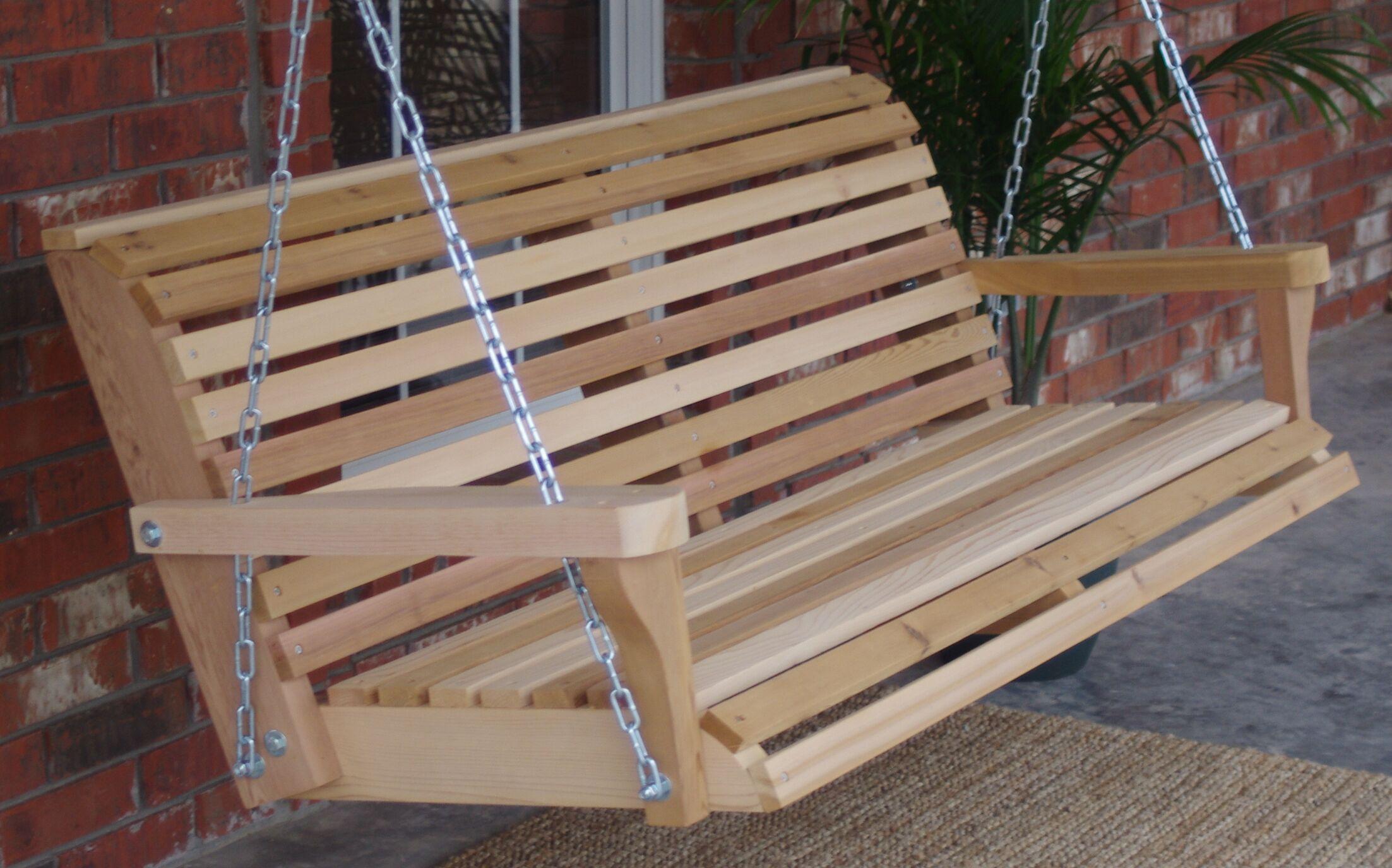 Hinkel Classic Cedar Porch Swing Finish: Stained/Regular, Size: 23