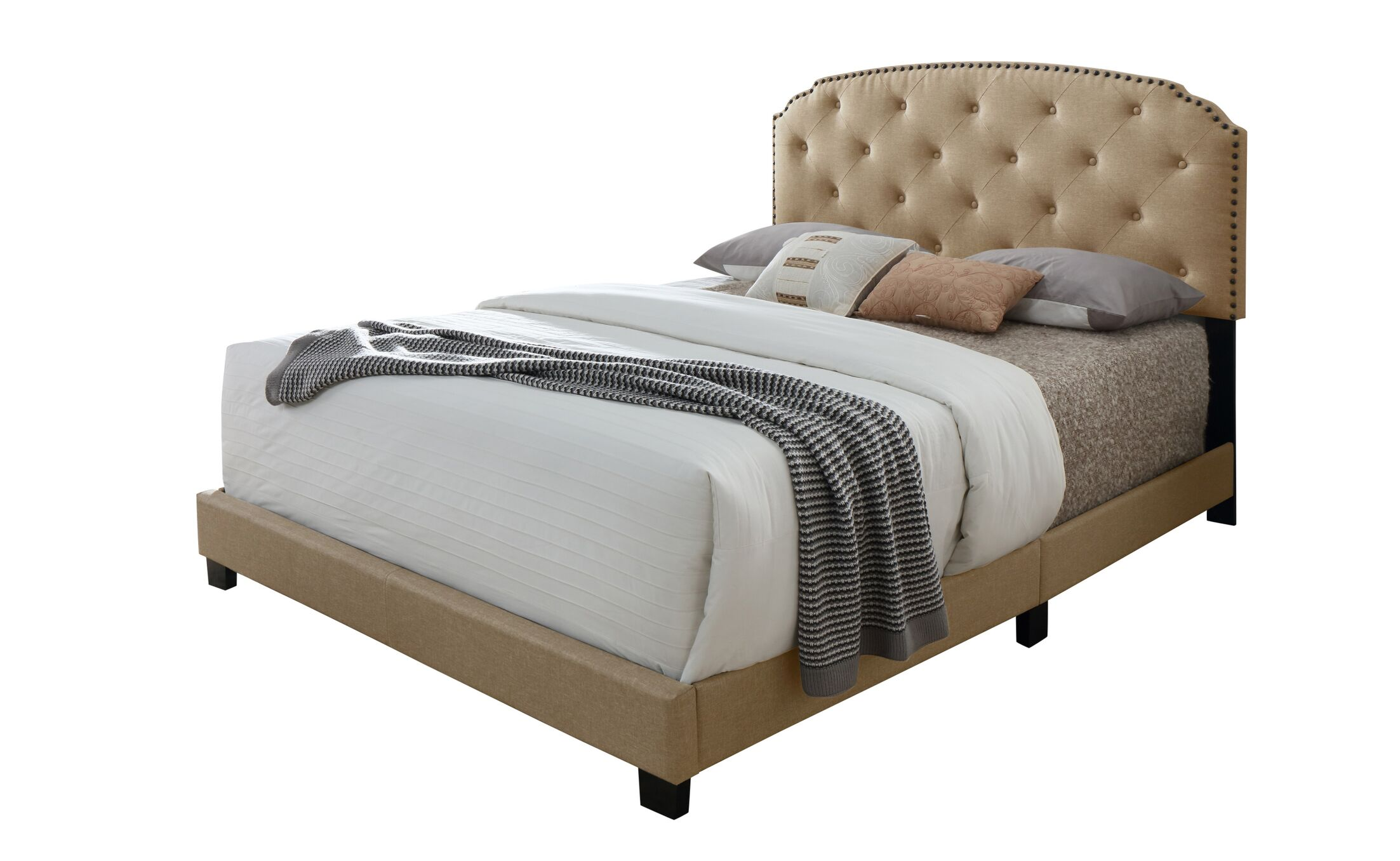 Serenity Queen Upholstered Panel Bed Size: King, Color: Gray