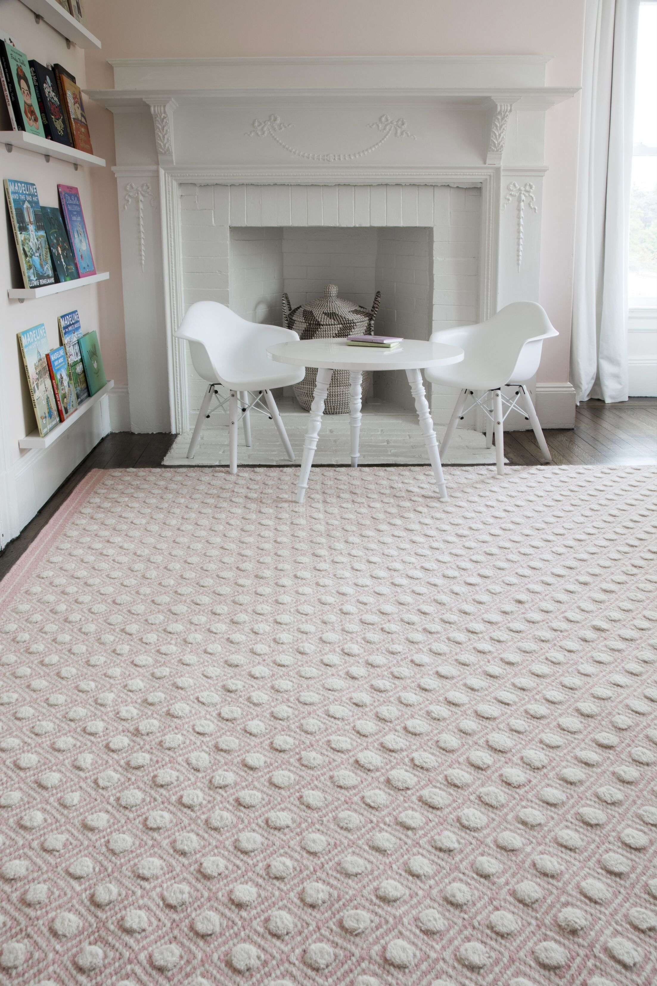 Langdon Windsor Hand-Woven Wool Pink Area Rug Rug Size: Rectangle 8'6