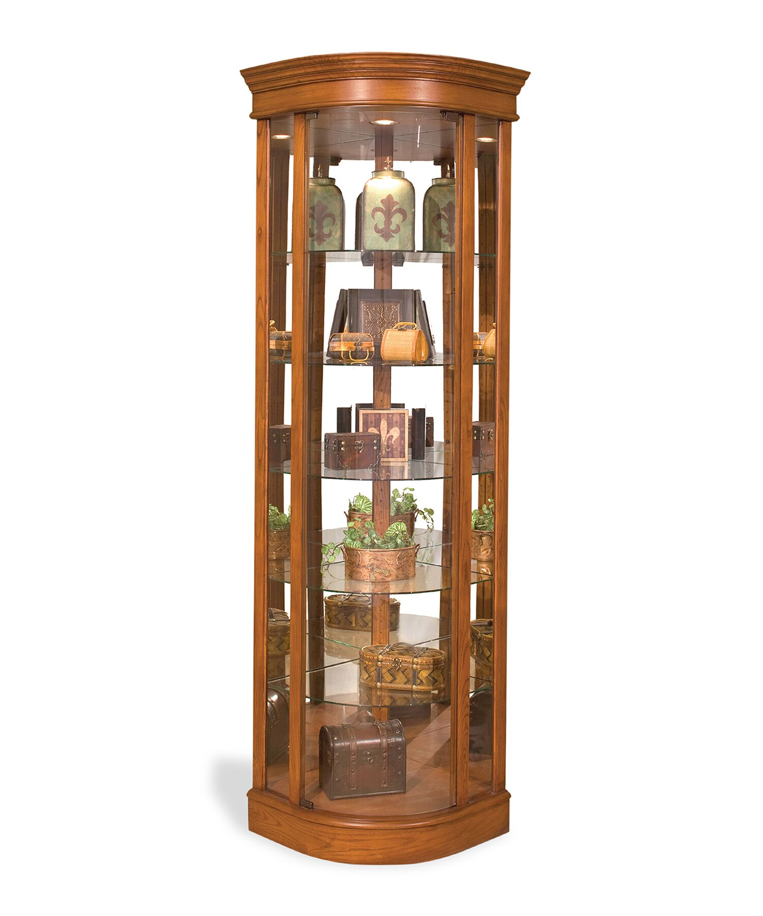 China Cabinets Auberge Lighted Corner Curio Cabinet March 2019
