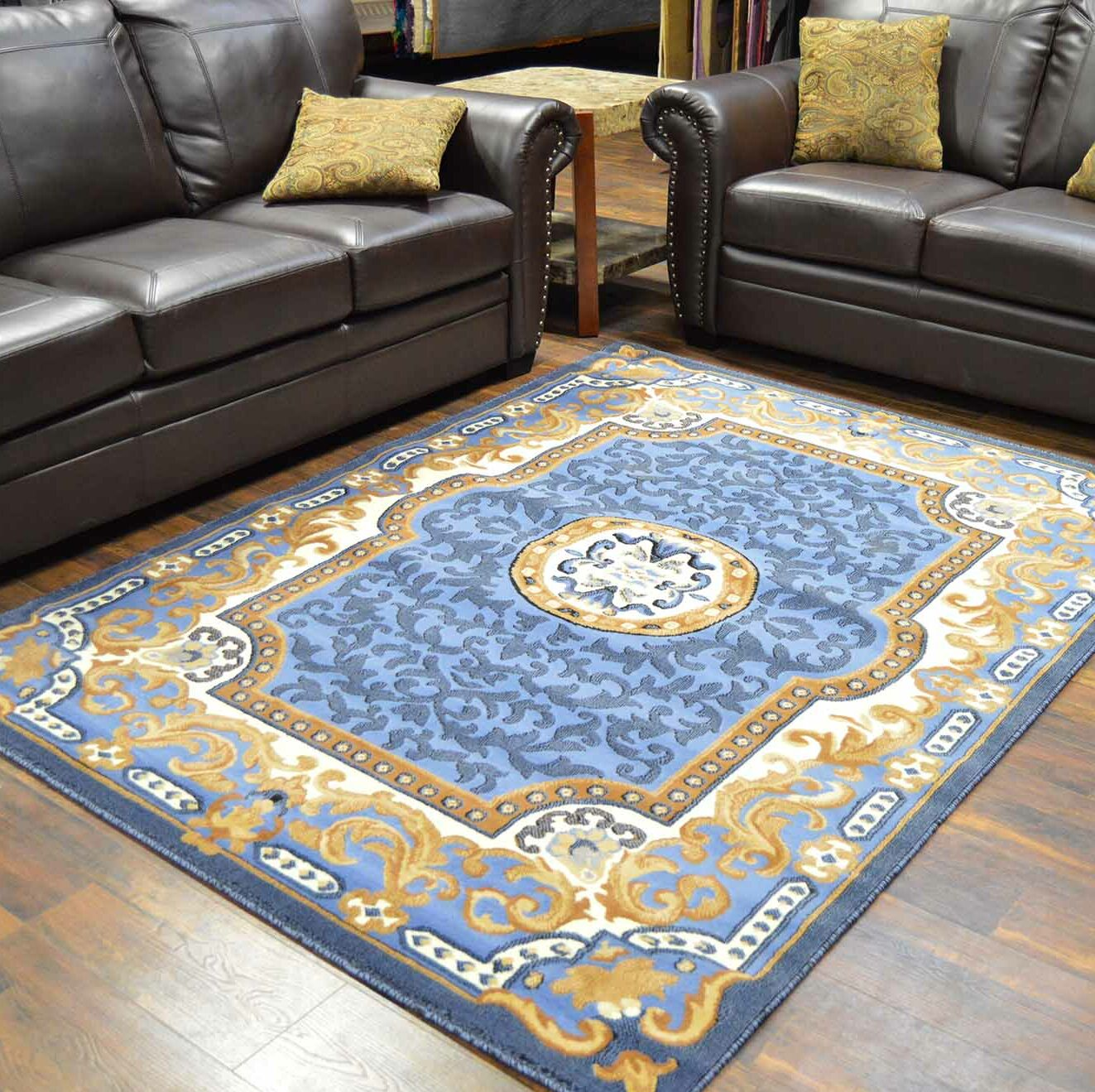 Riche Blue Area Rug Rug Size: Rectangle 8' x 10'5
