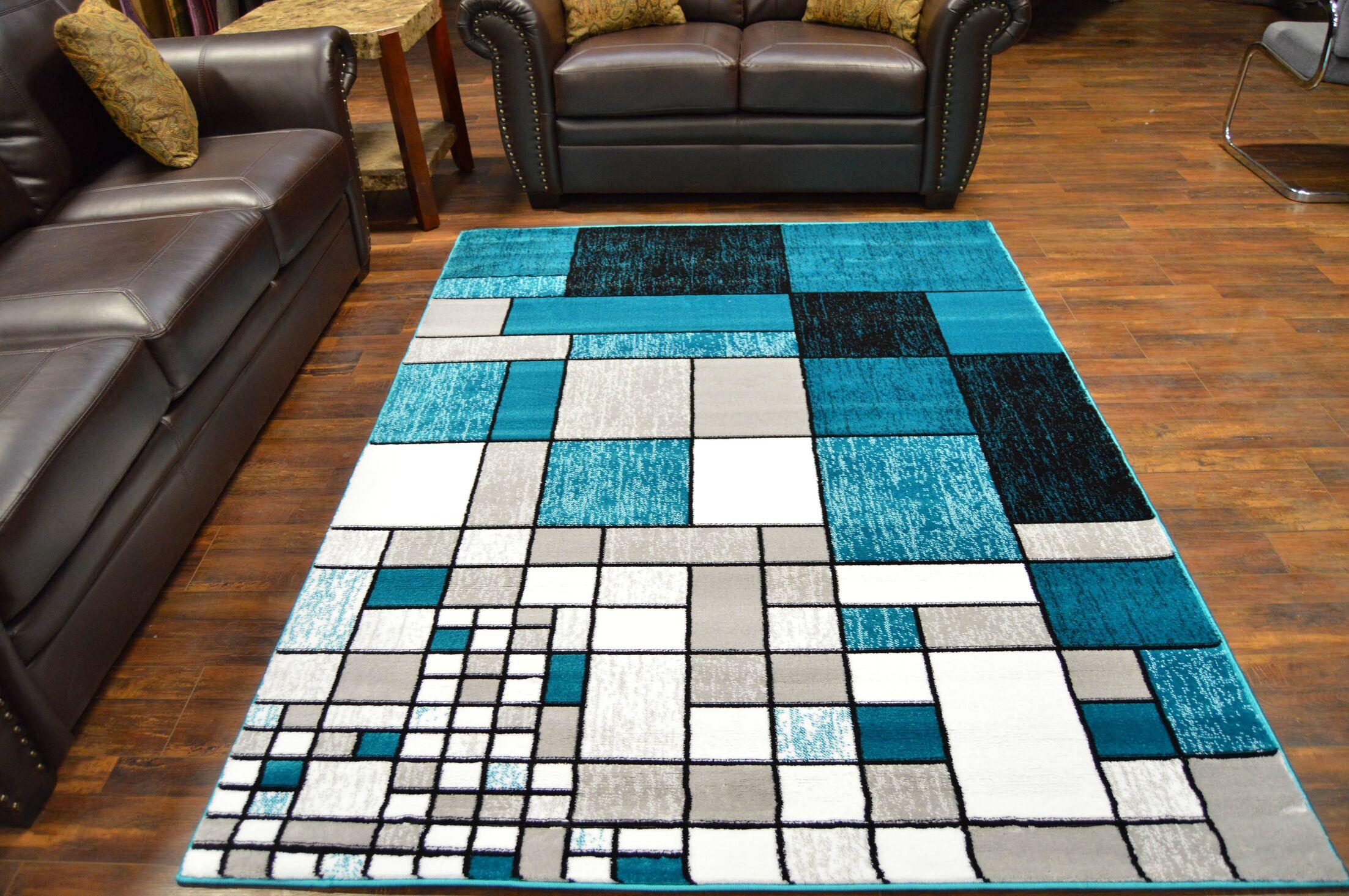 Bella Modern Contemporary Turqouise/Gray Area Rug