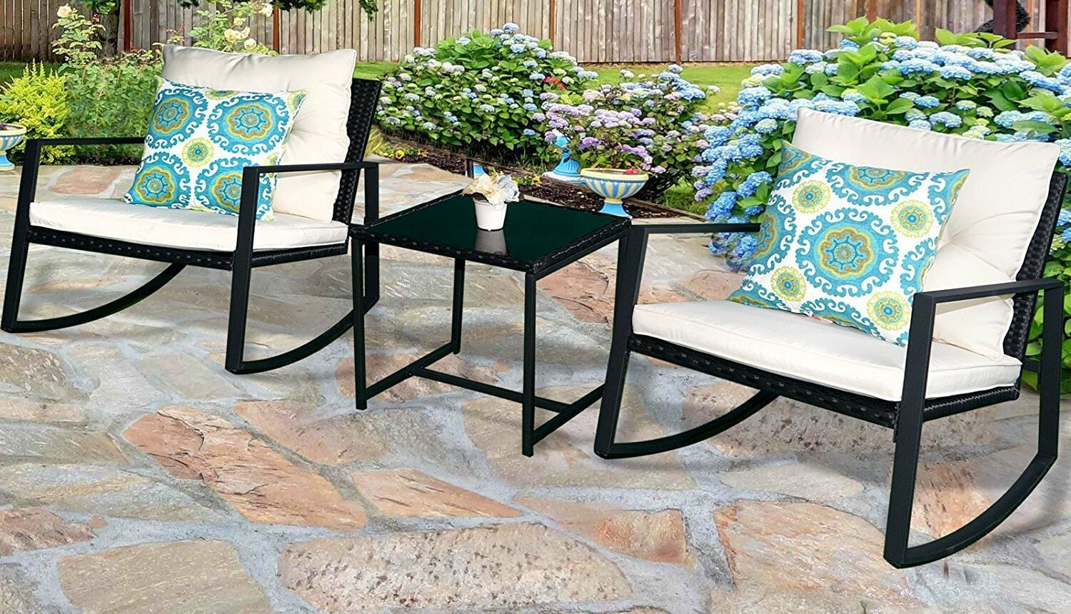 Kemmer Outdoor 3 Piece Rocking Wicker Seating Group with Cushions