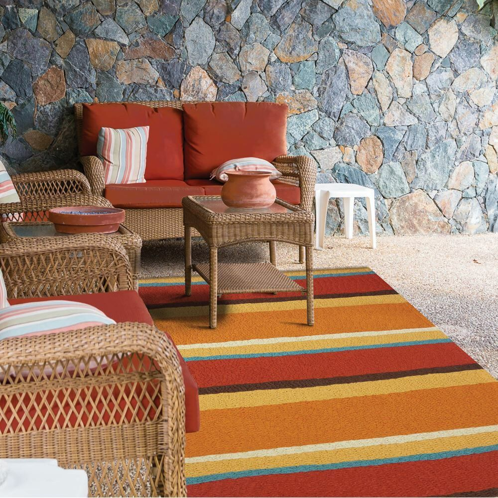 Caressa Sunset Stripe Hand-Hooked Rust Indoor/Outdoor Area Rug Rug Size: Rectangle 2'10