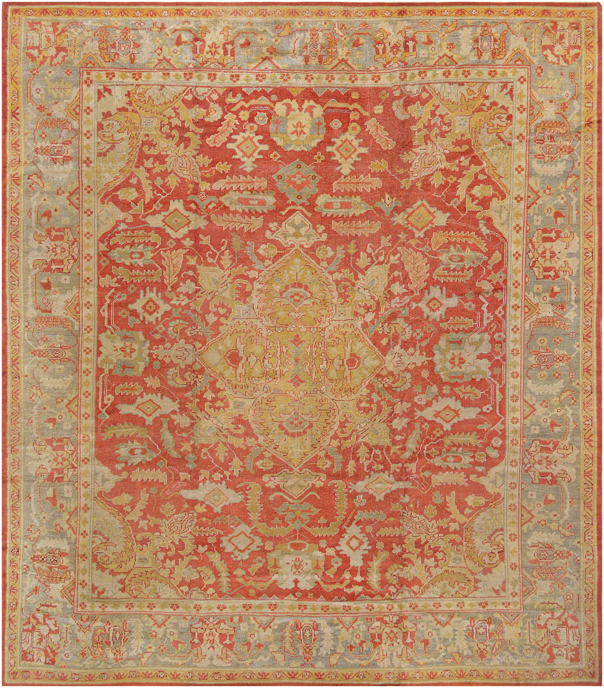 One-of-a-Kind Oushak Handwoven Wool Tomato Red/Beige Indoor Area Rug