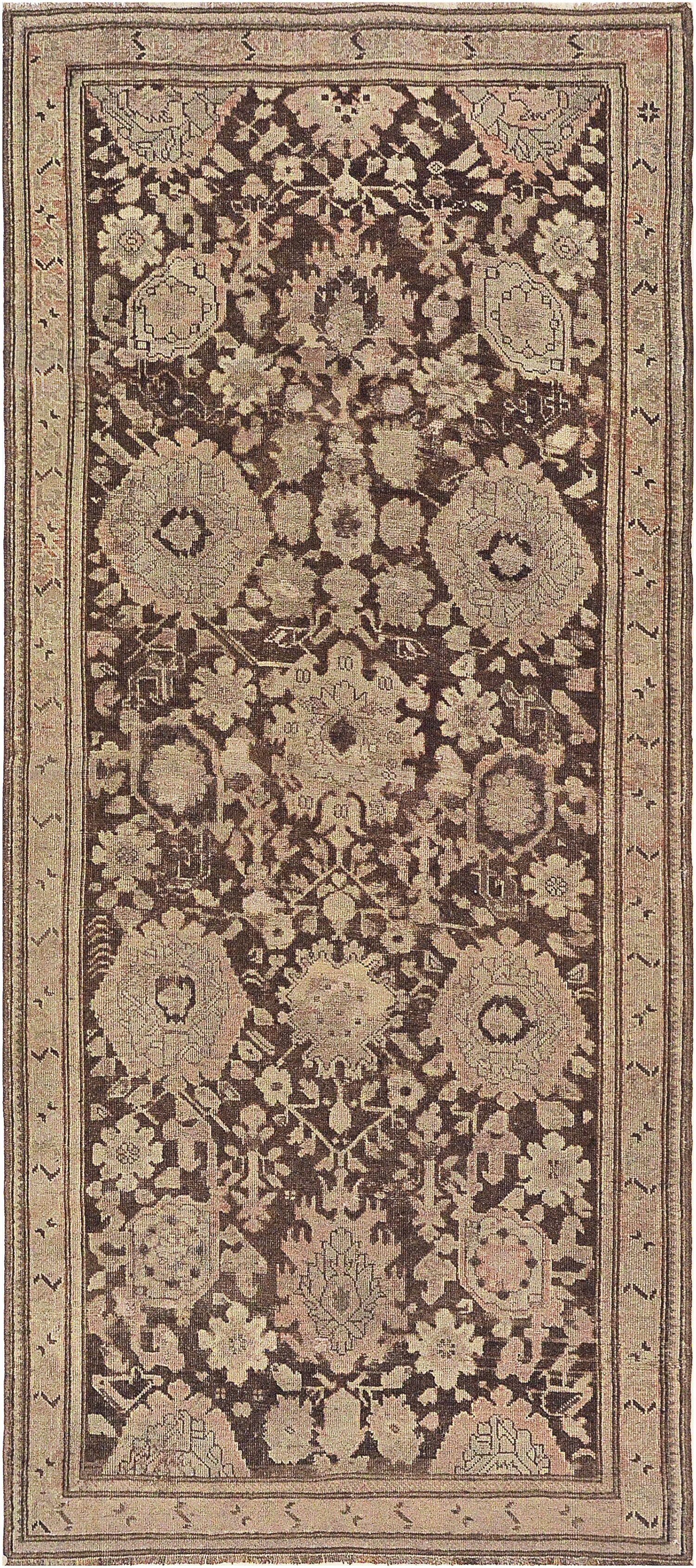 One-of-a-Kind Antique Karabagh Handwoven Wool Brown Indoor Area Rug