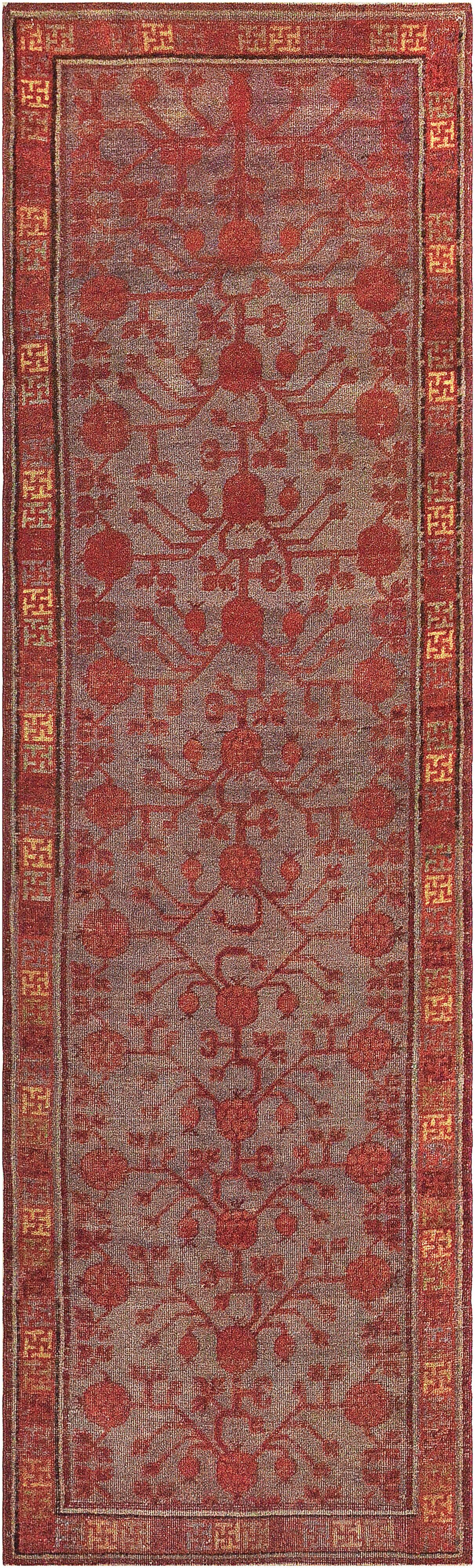 One-of-a-Kind Antique Khotan Handwoven Wool Gray/Red Indoor Area Rug
