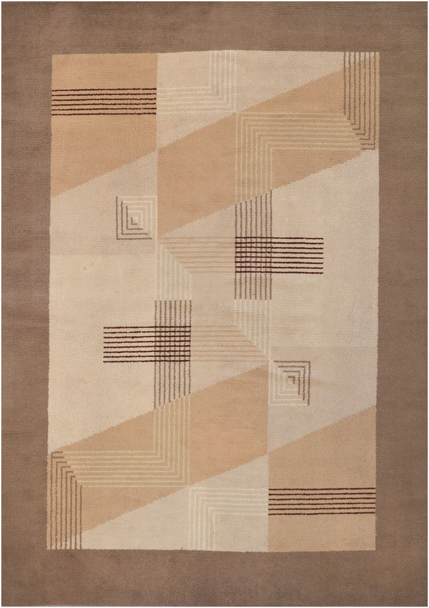 Vintage One-of-a-Kind Deco Handwoven Wool Ivory/Brown Indoor Area Rug