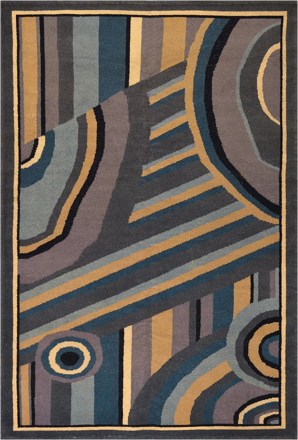 One-of-a-Kind Vintage Deco Handwoven Wool Orange/Brown Indoor Area Rug