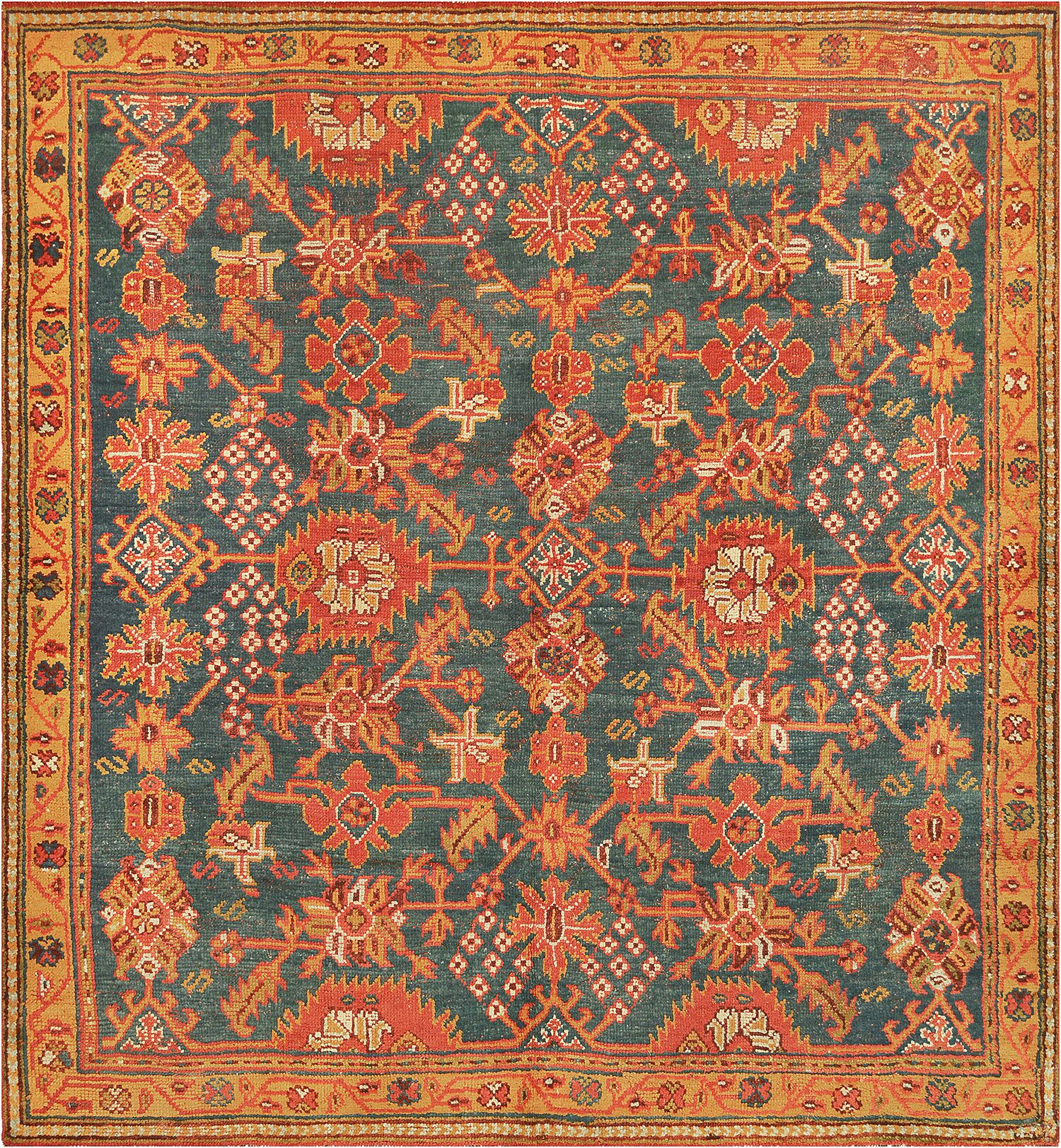 One-of-a-Kind Antique Oushak Handwoven Wool Teal/Orange Indoor Area Rug