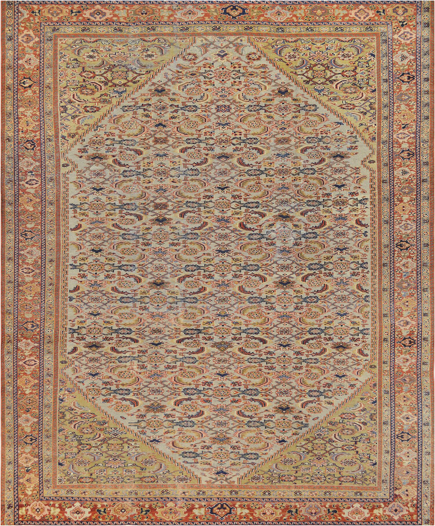 One-of-a-Kind Antique Sultanabad Handwoven Wool Ivory Indoor Area Rug