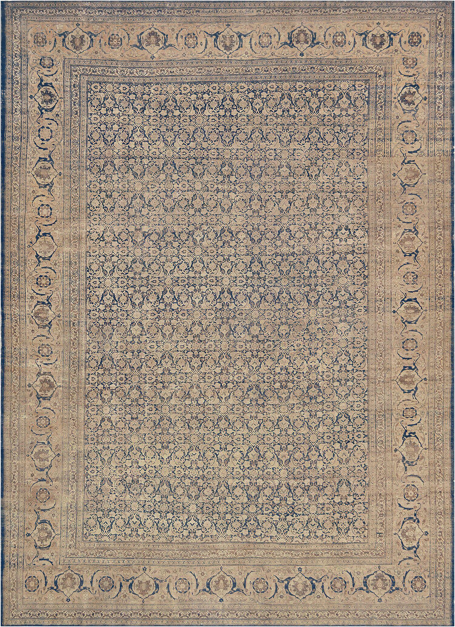 One-of-a-Kind Antique Tabriz Handwoven Wool Indigo Indoor Area Rug