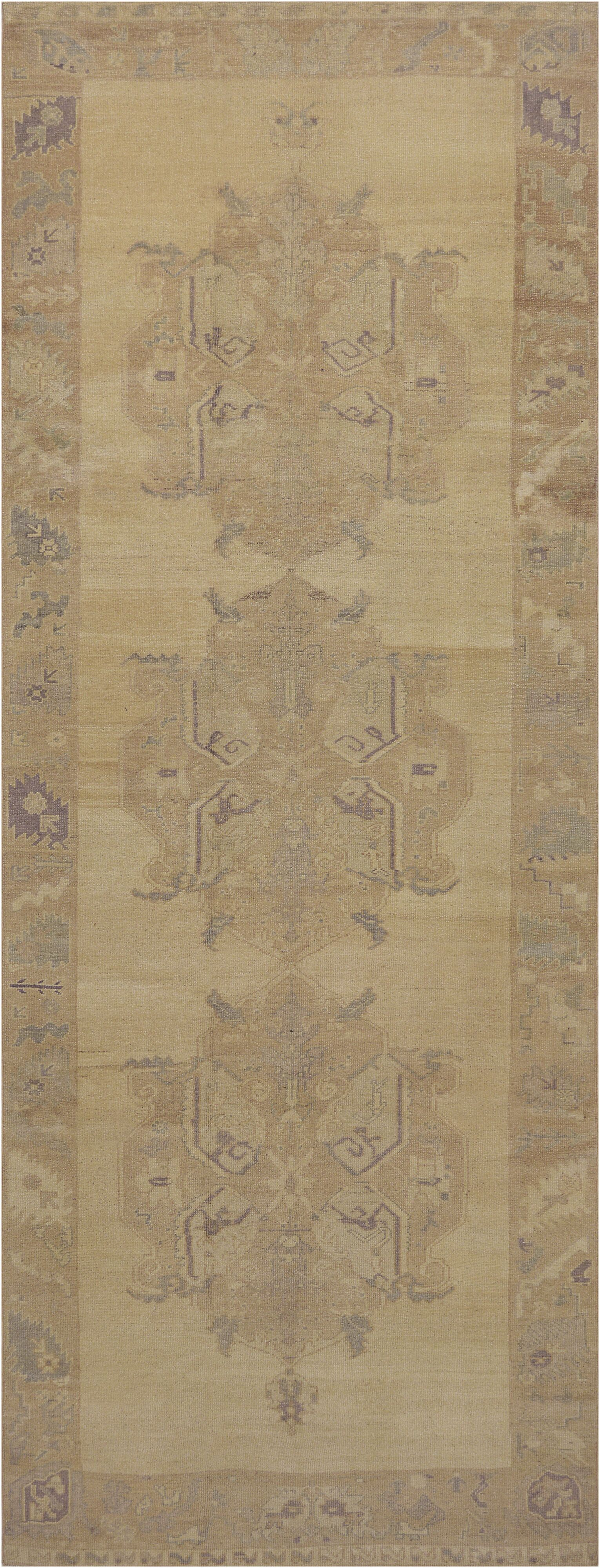 One-of-a-Kind Turkish Handwoven Wool Beige Indoor Area Rug
