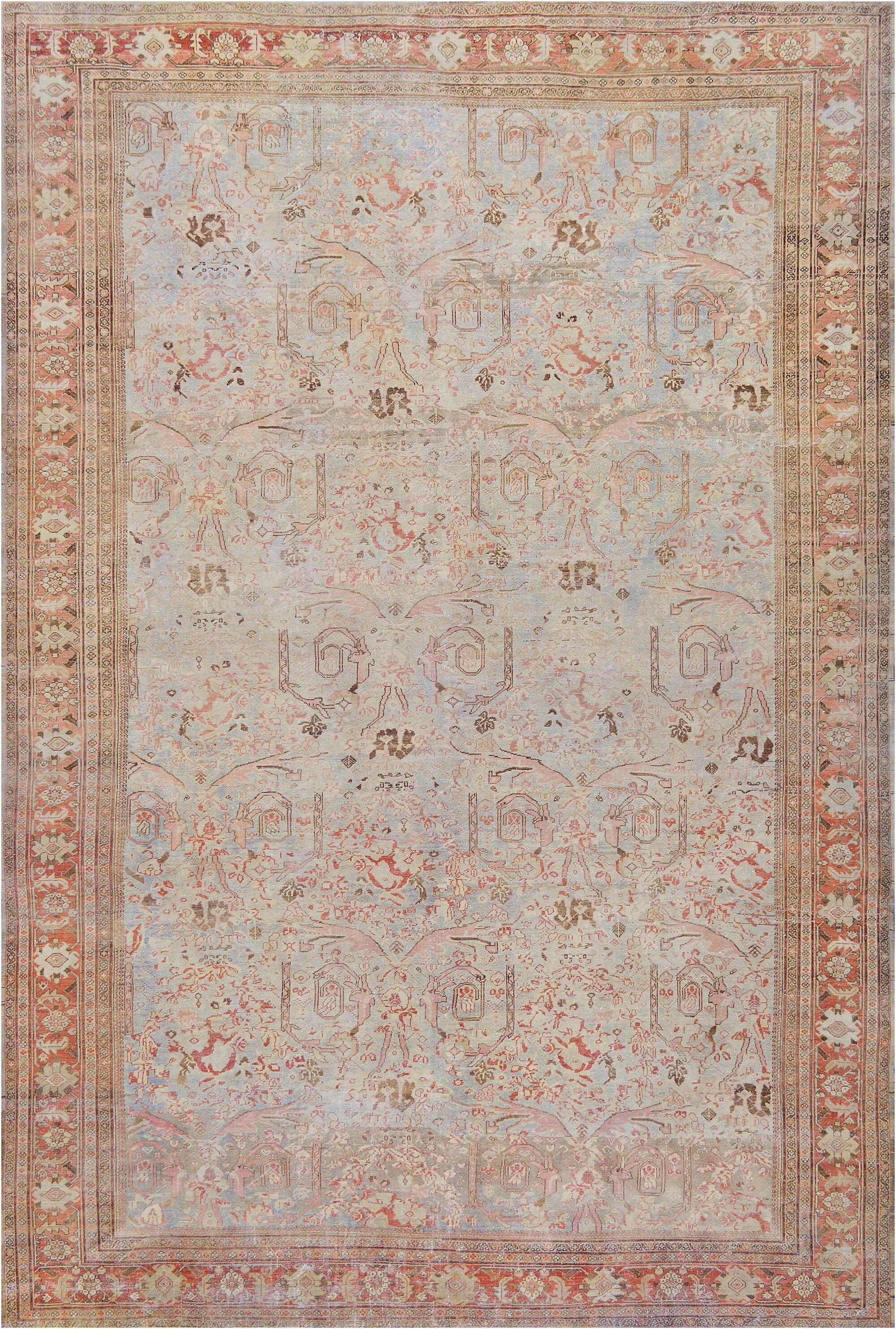 One-of-a-Kind Antique Sultanabad Handwoven Wool Pale Blue Indoor Area Rug