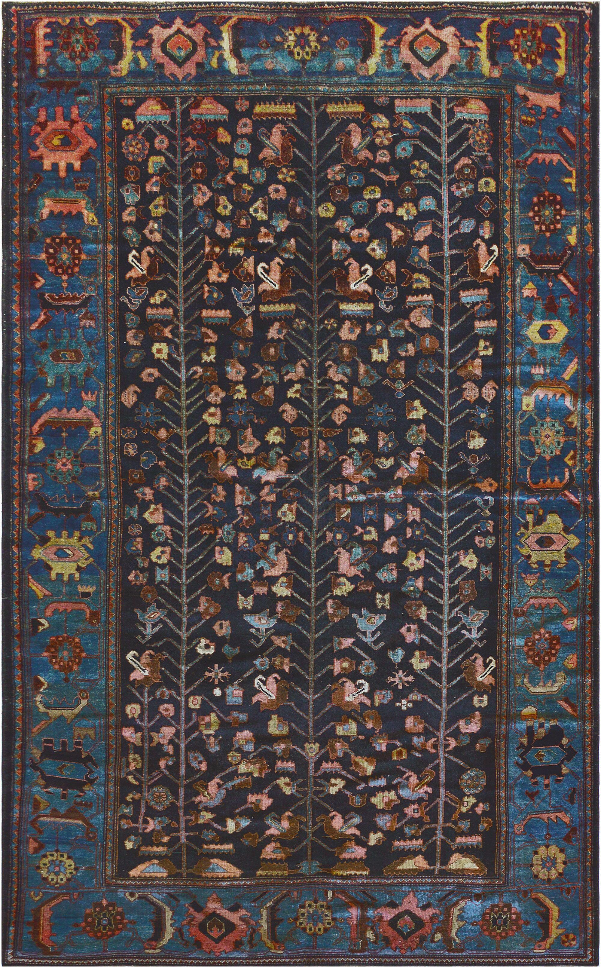 One-of-a-Kind Antique Bidjar Handwoven Wool Blue Indoor Area Rug