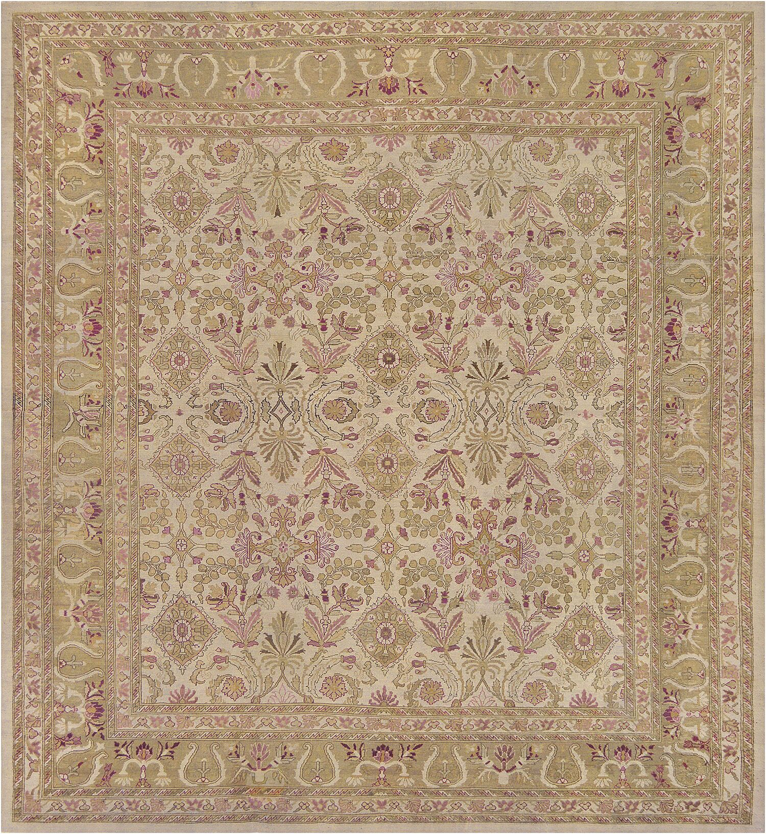 One-of-a-Kind Antique Agra Handwoven Wool Beige Area Rug