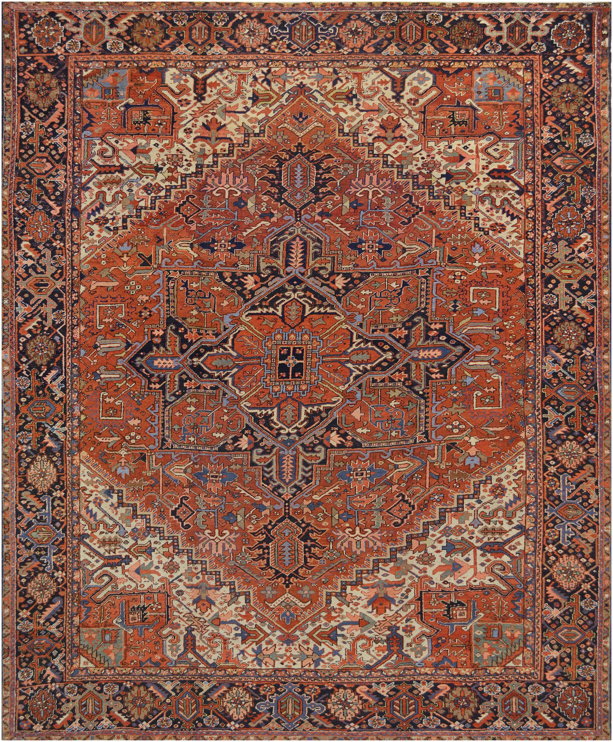 One-of-a-Kind Antique Heriz Handwoven Wool Brown Indoor Area Rug