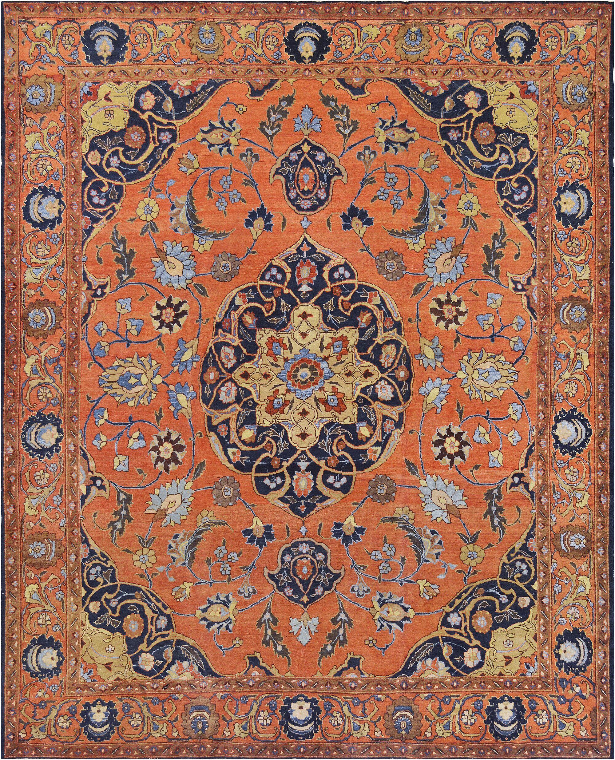 One-of-a-Kind Antique Tabriz Handwoven Wool Orange Indoor Area Rug